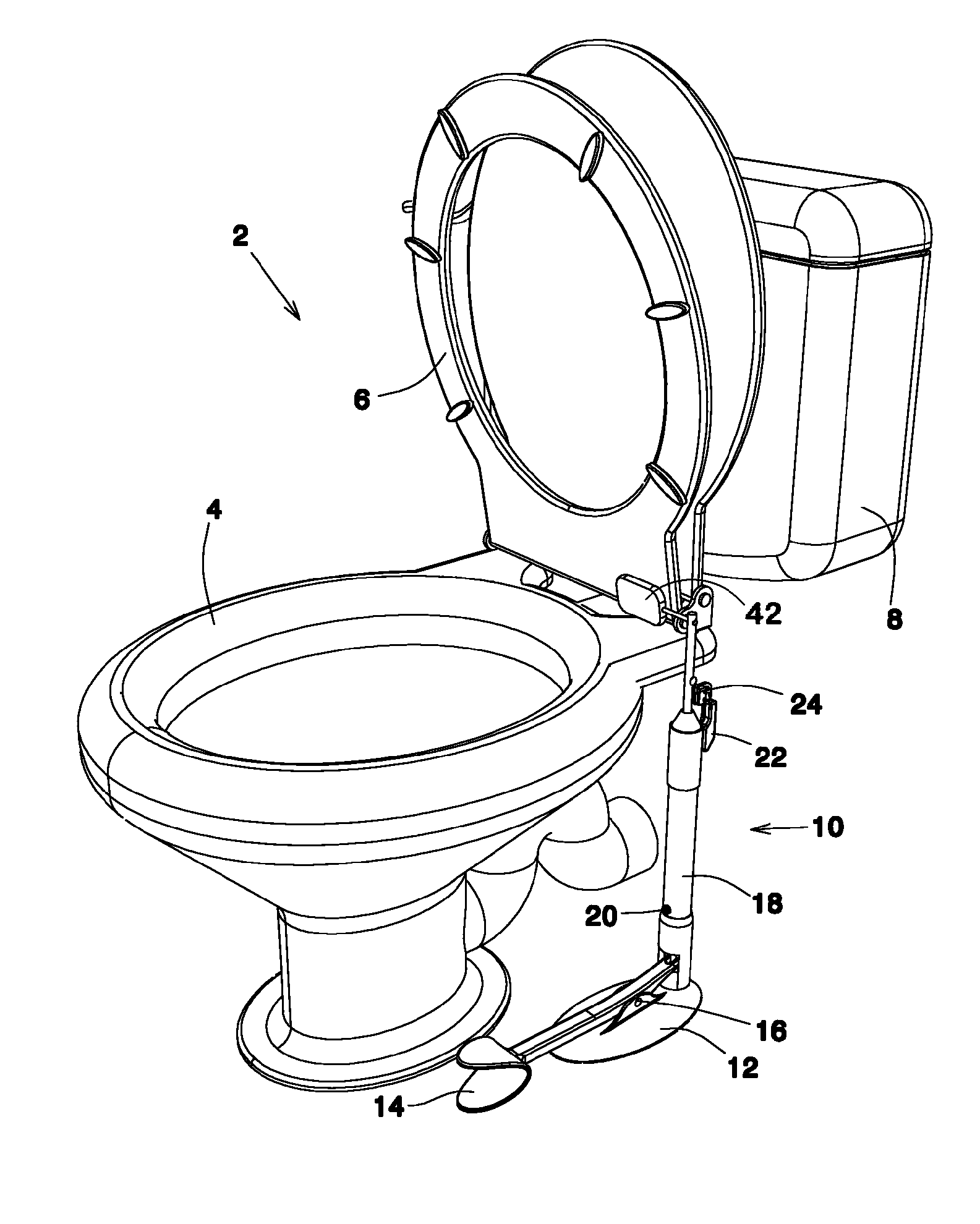 patent us8020221 hands free toilet seat lifting device google patents. Black Bedroom Furniture Sets. Home Design Ideas