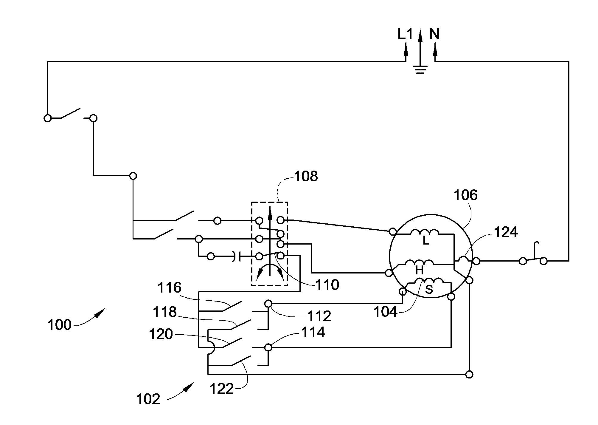 patent us8022657 - washing machine wiring to reduce mechanical timer contact welding