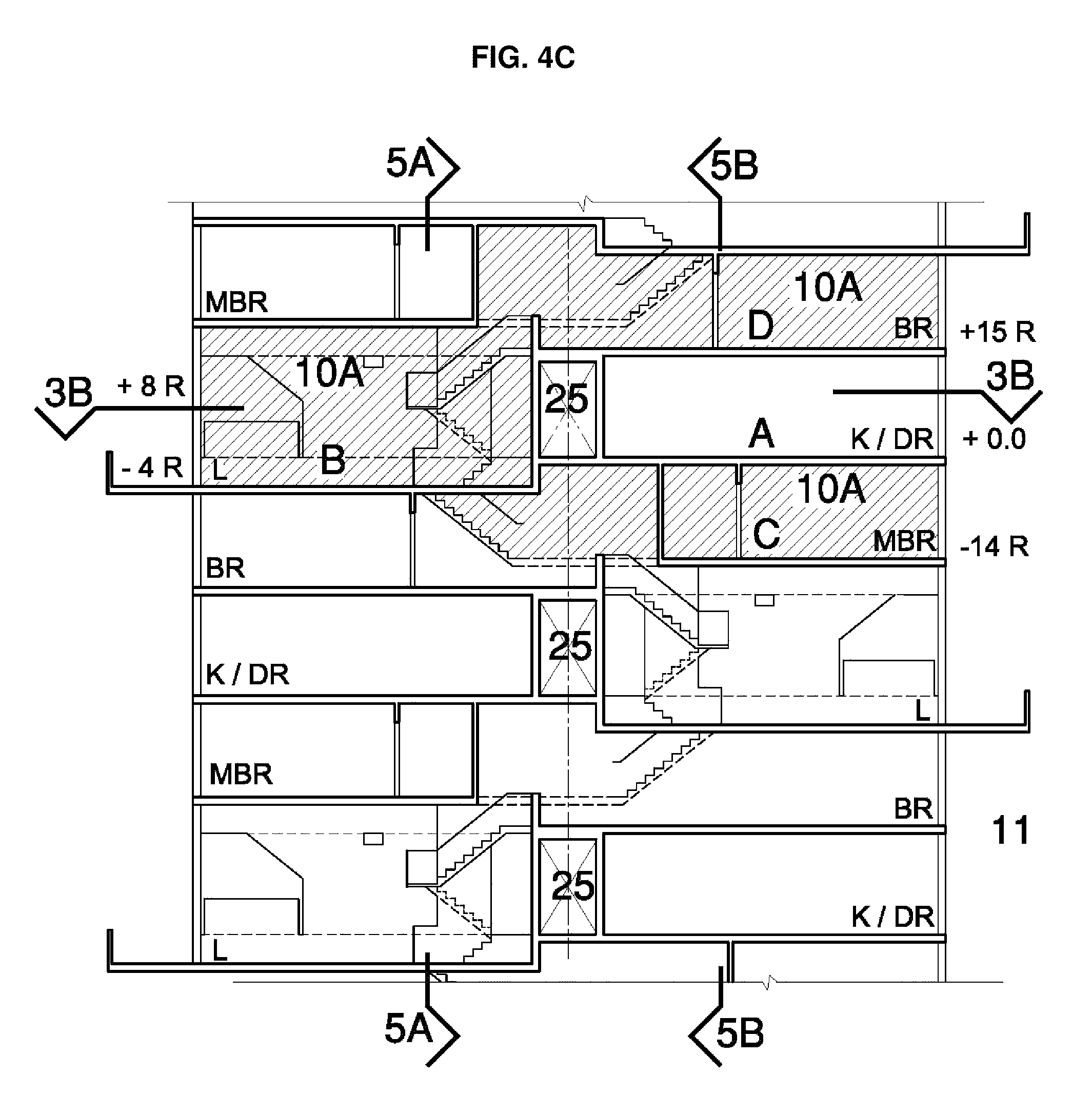 patent us8033067 - multi-level apartment building - google patents
