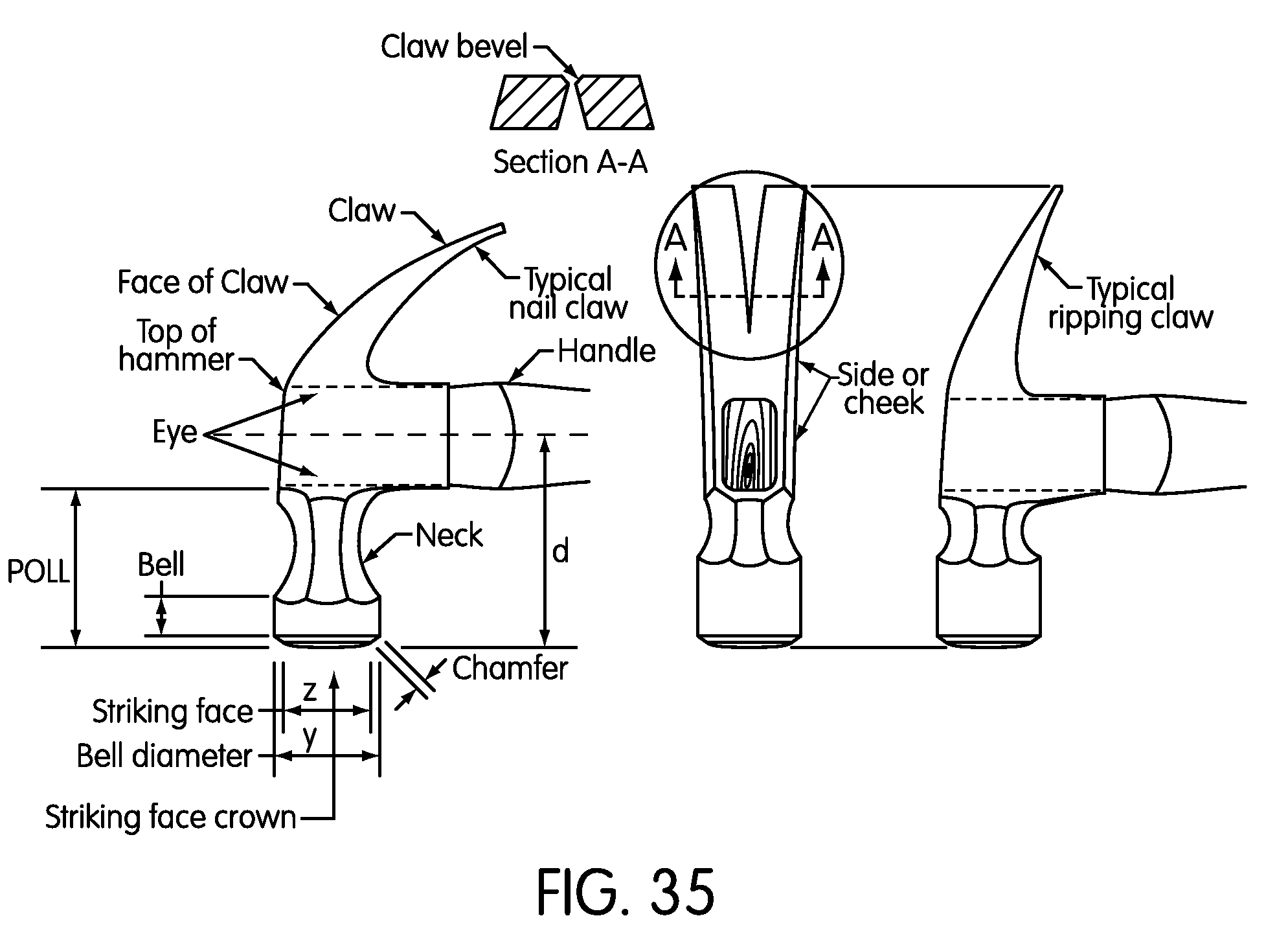 Patent Drawing. Patent US8047099   Large strike face hammer   Google Patents