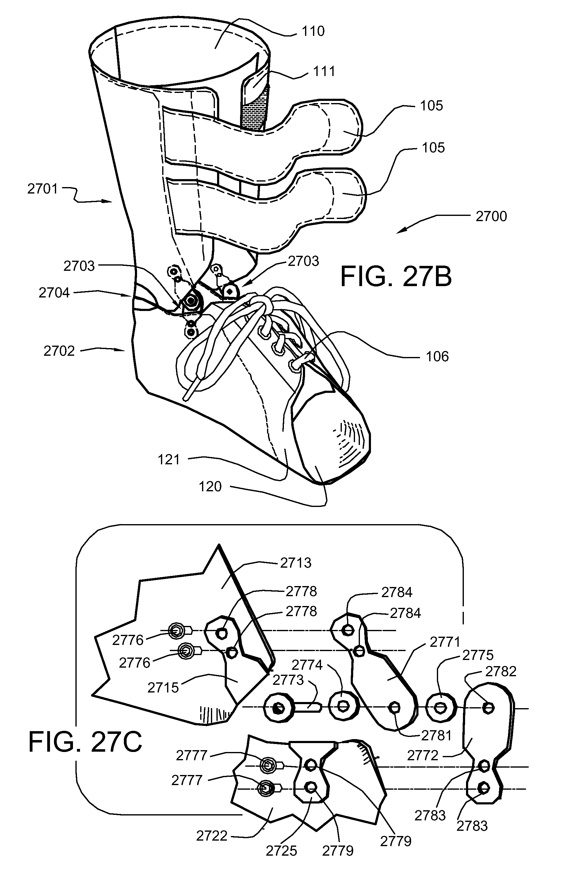 patent us8048012 articulated custom ankle foot orthosis systems