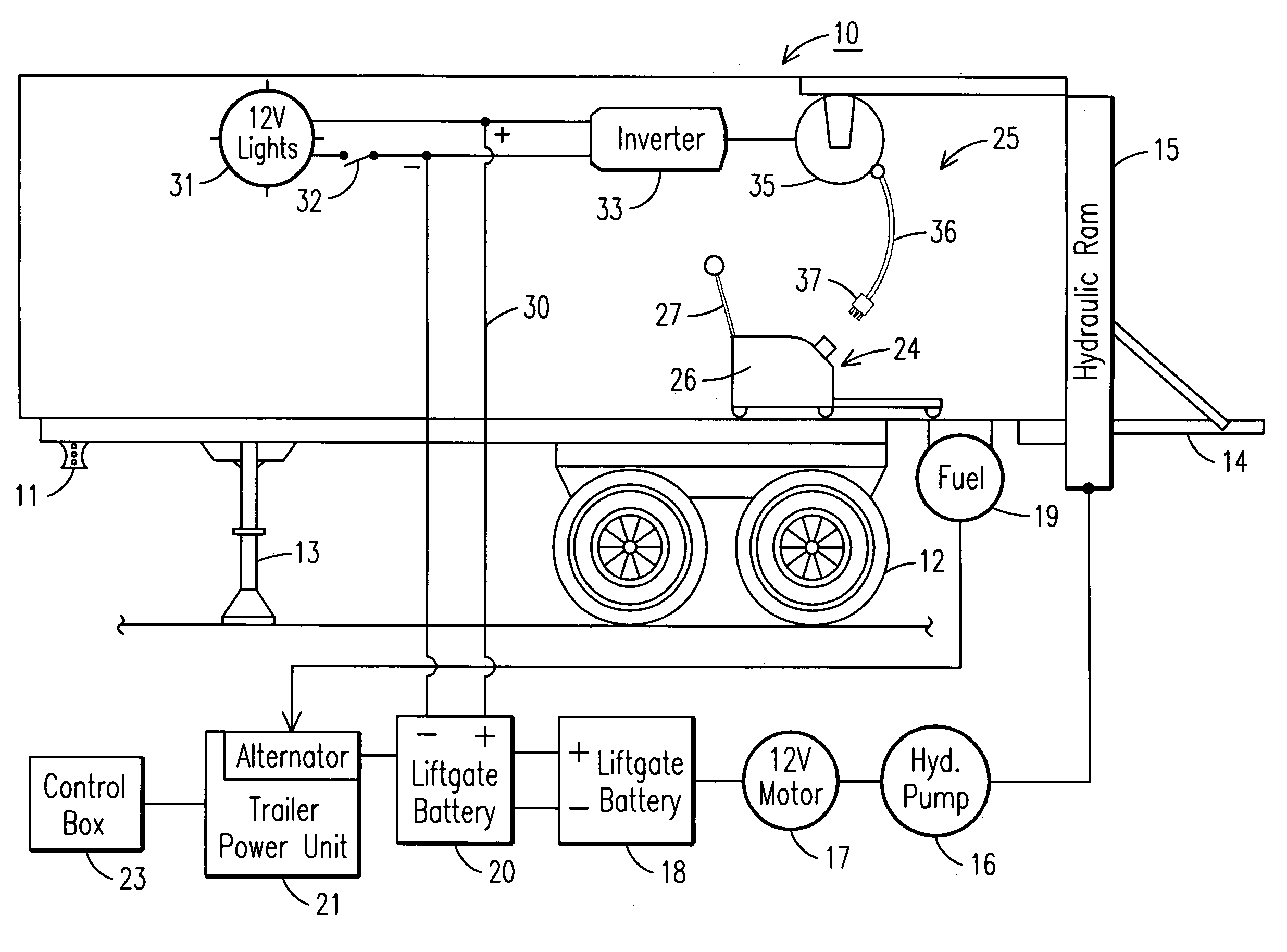 patent us8056329 tractor trailer power system google patents patent drawing