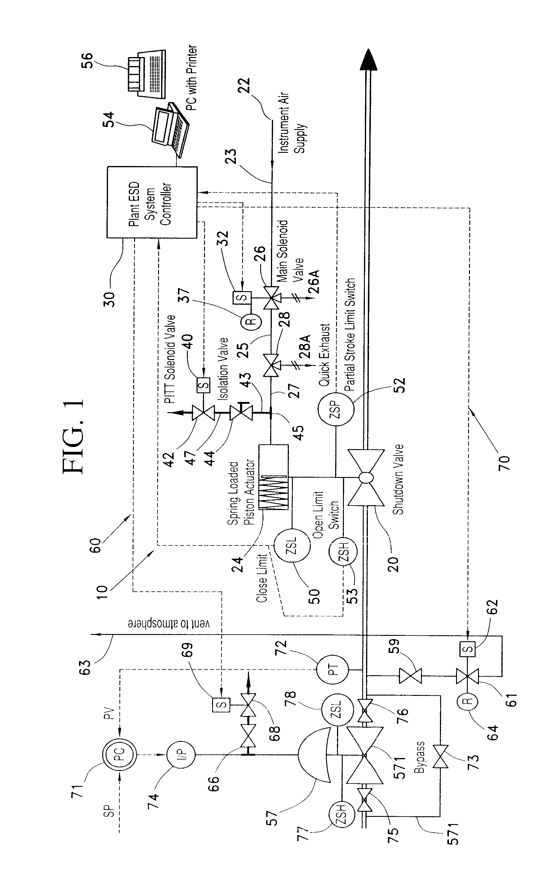 patente us8074512 - partial stroke testing system coupled with fuel control valve