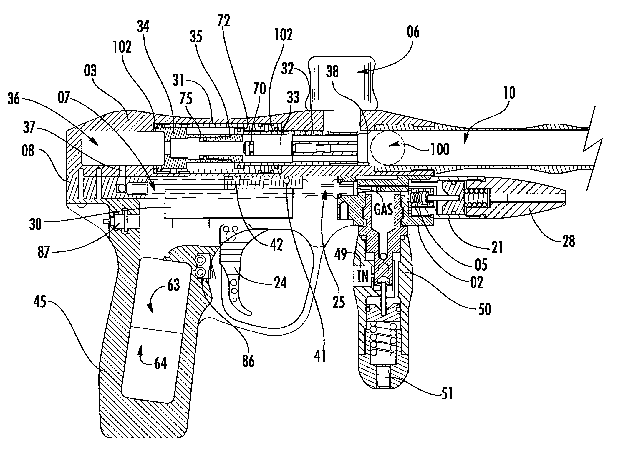patent us8074632 - variable pneumatic sear for paintball gun