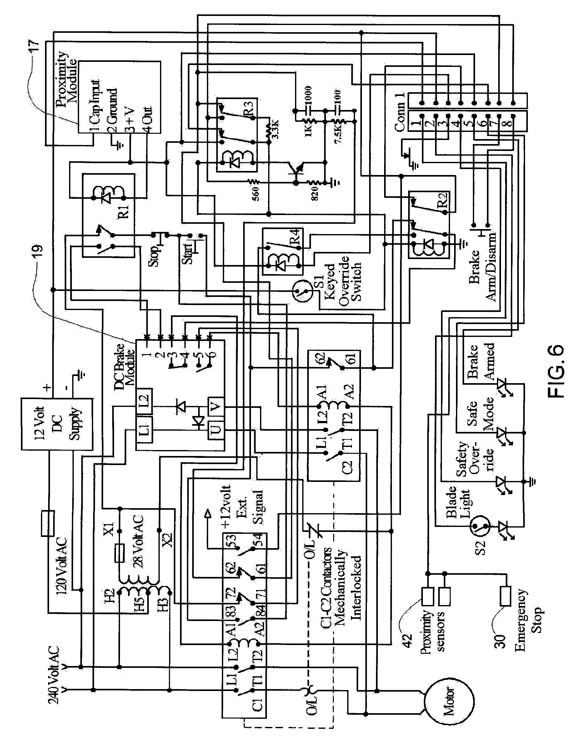 US08082825 20111227 D00006 patent us8082825 health and safety system for a table saw bosch 4000 table saw wiring diagram at honlapkeszites.co