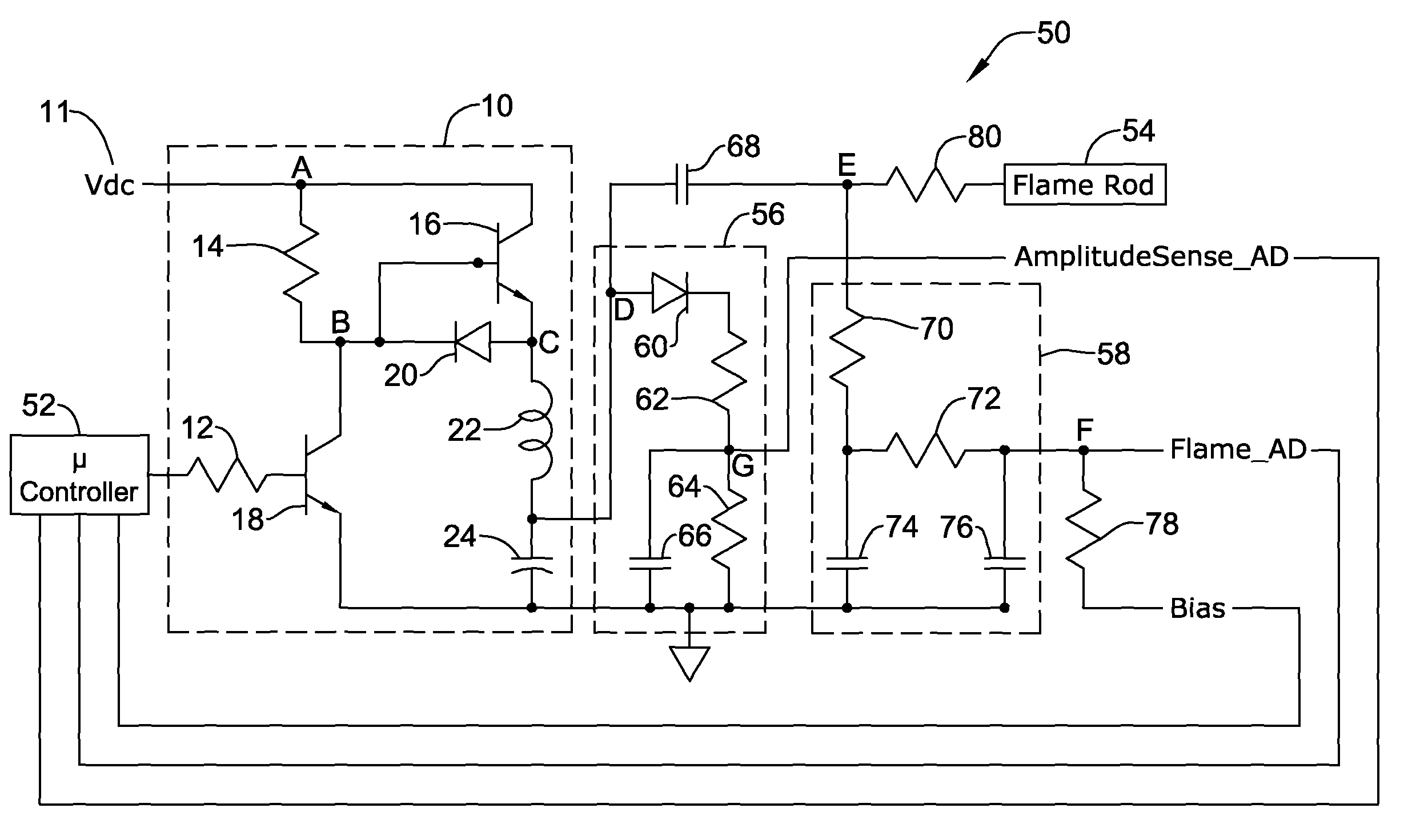 US08085521 20111227 D00000 patent us8085521 flame rod drive signal generator and system flame sensor wiring diagram at suagrazia.org