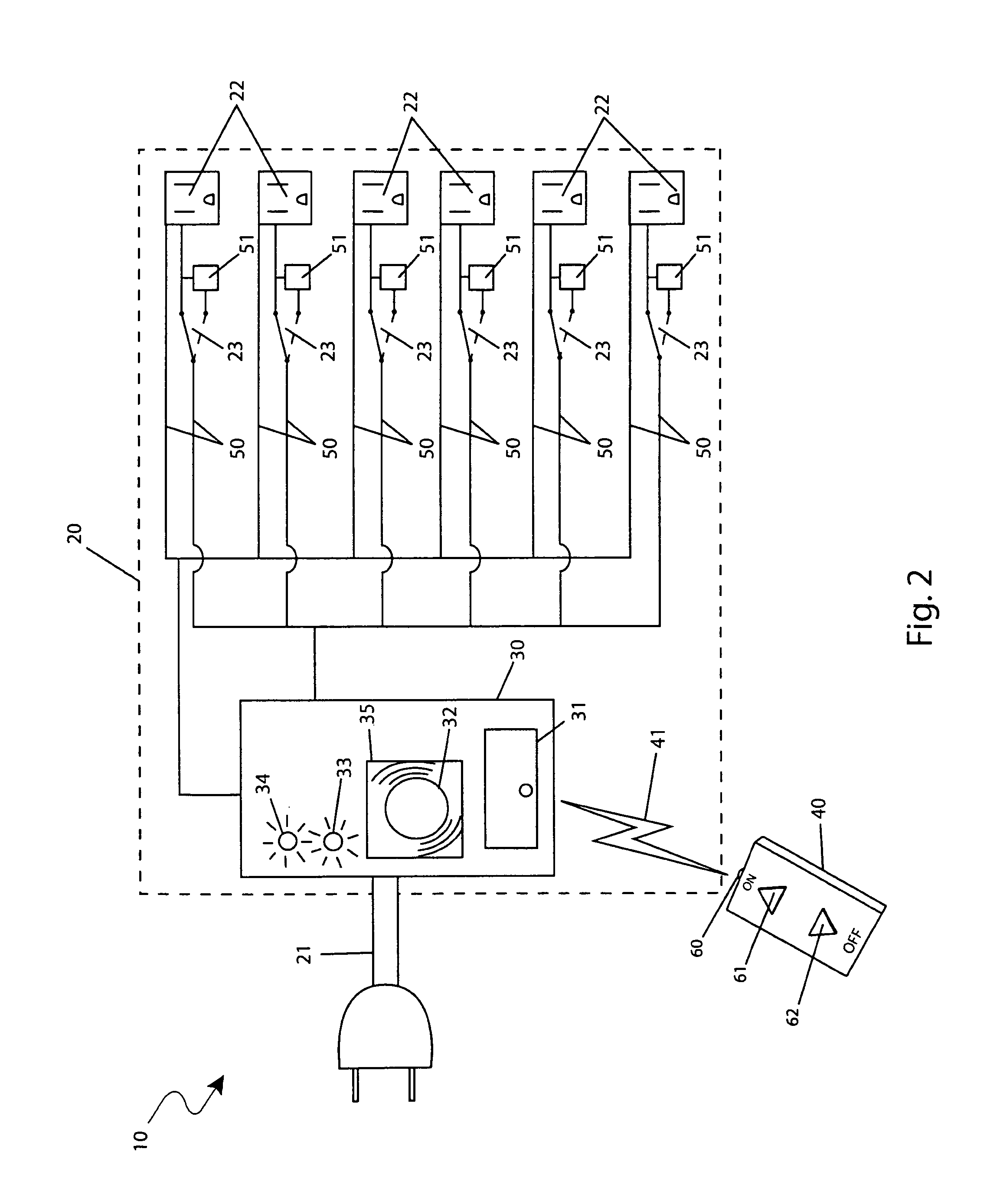 patent us8106541 - outlet power strip with remote control