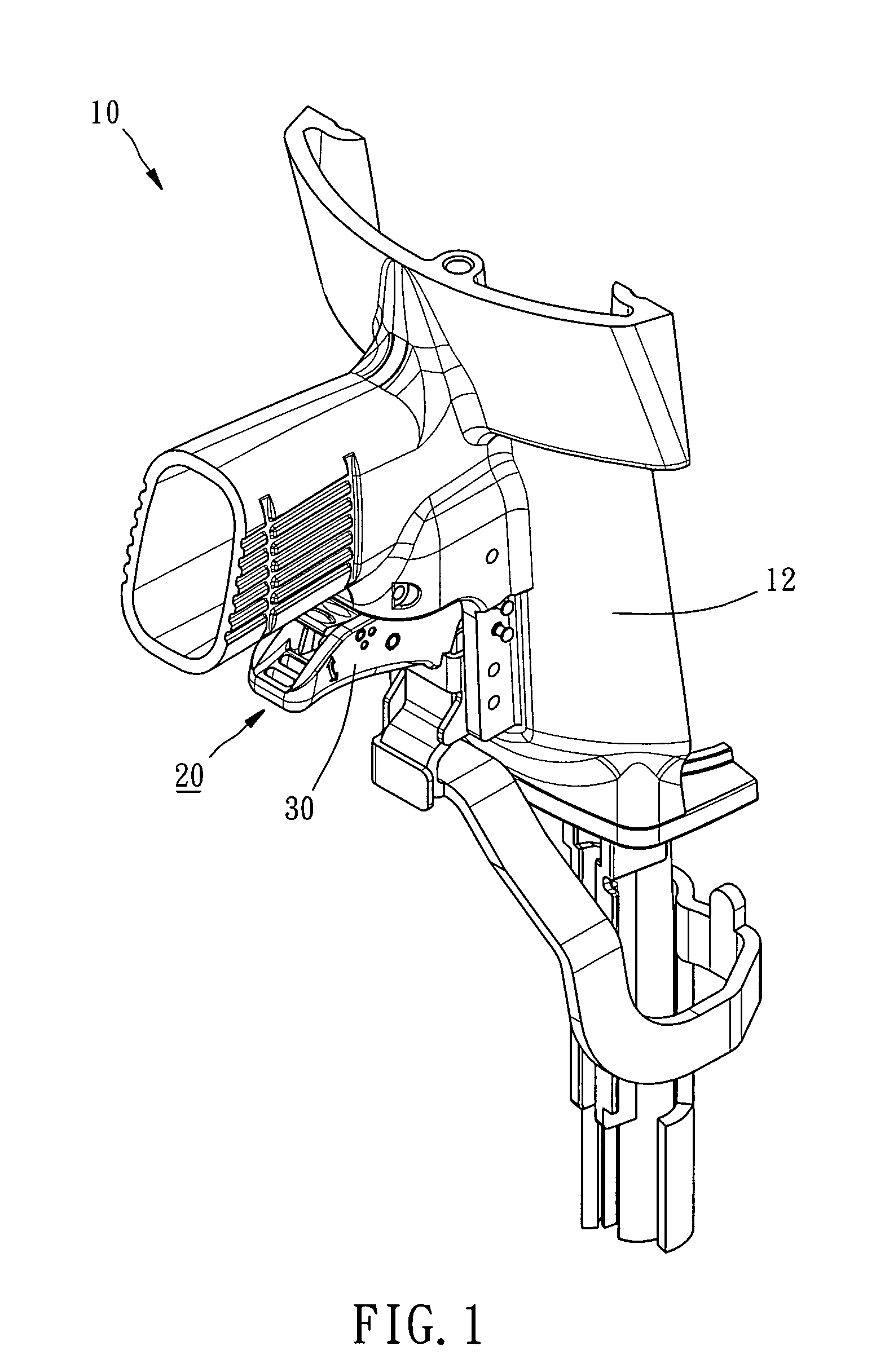patent us8109425 - shooting mode switch control mechanism for nail gun