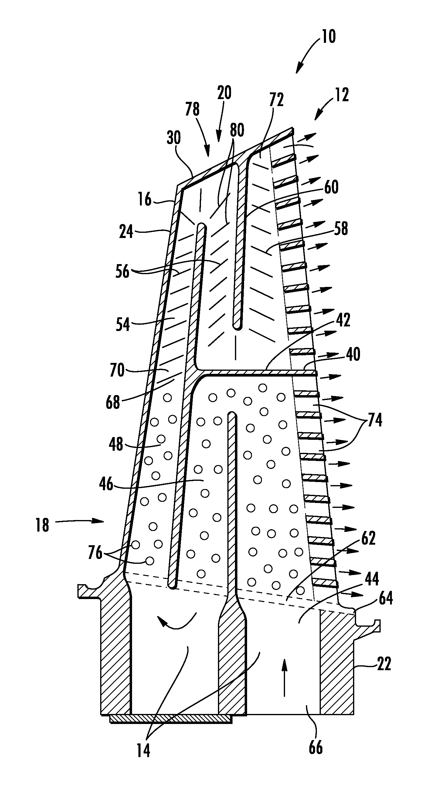 Patent US Turbine airfoil cooling system with dual