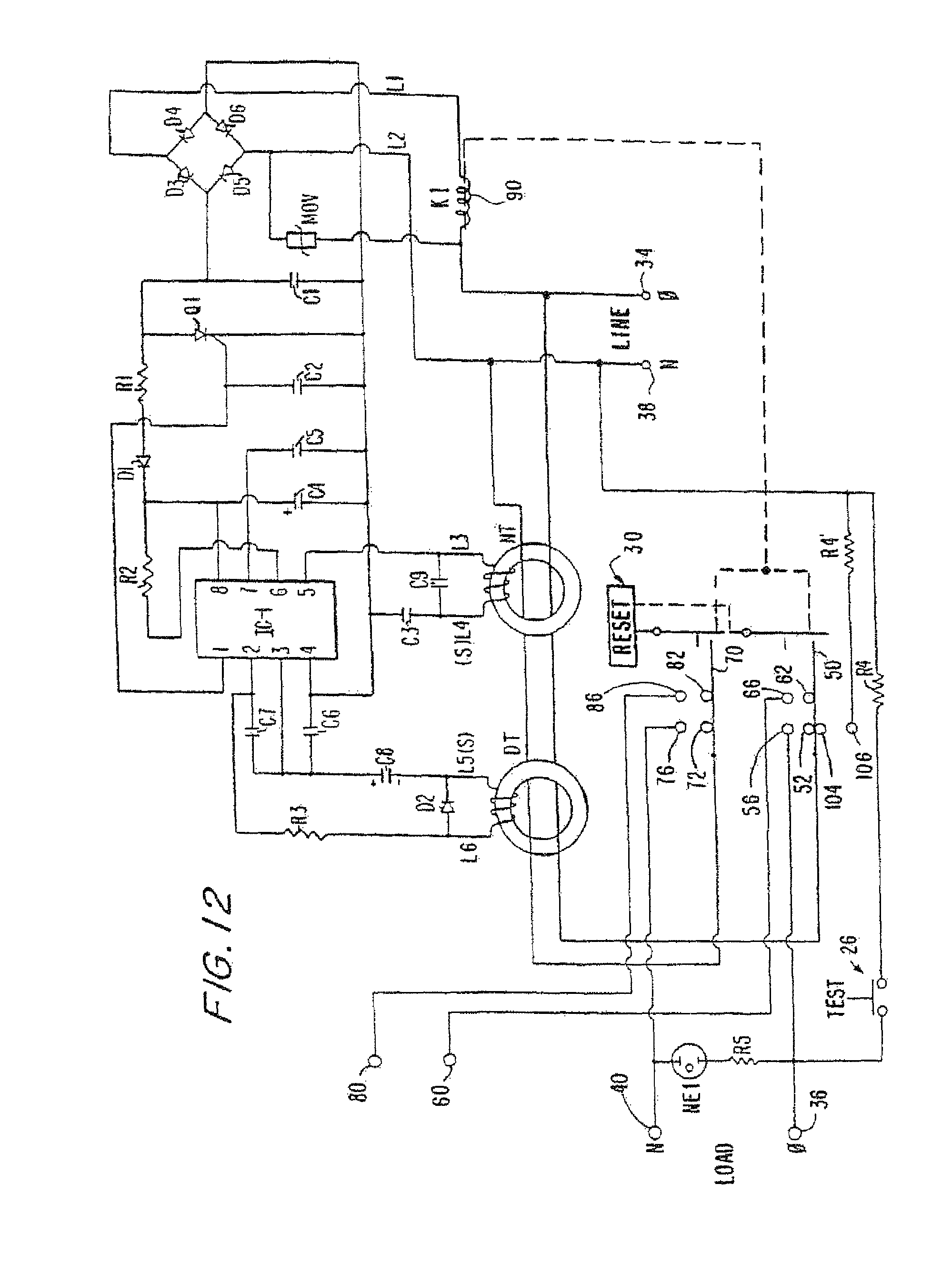 Patent Us8130480 Circuit Interrupting Device With Reset Lockout Latching Continuity Tester Diagrams Schematics Electronic Drawing