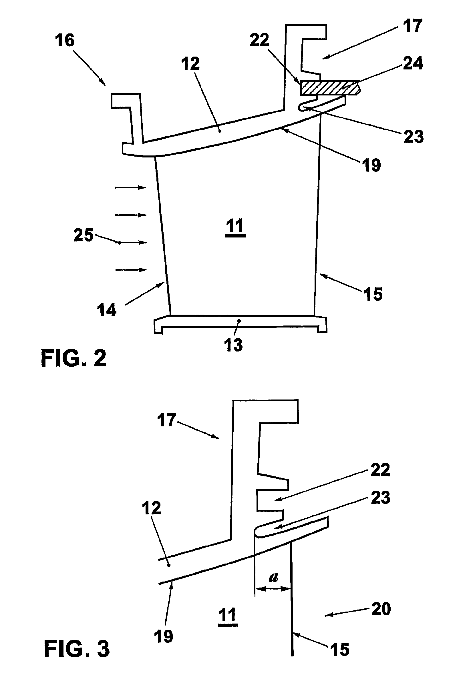Patent US Guide vane having hooked fastener for a gas