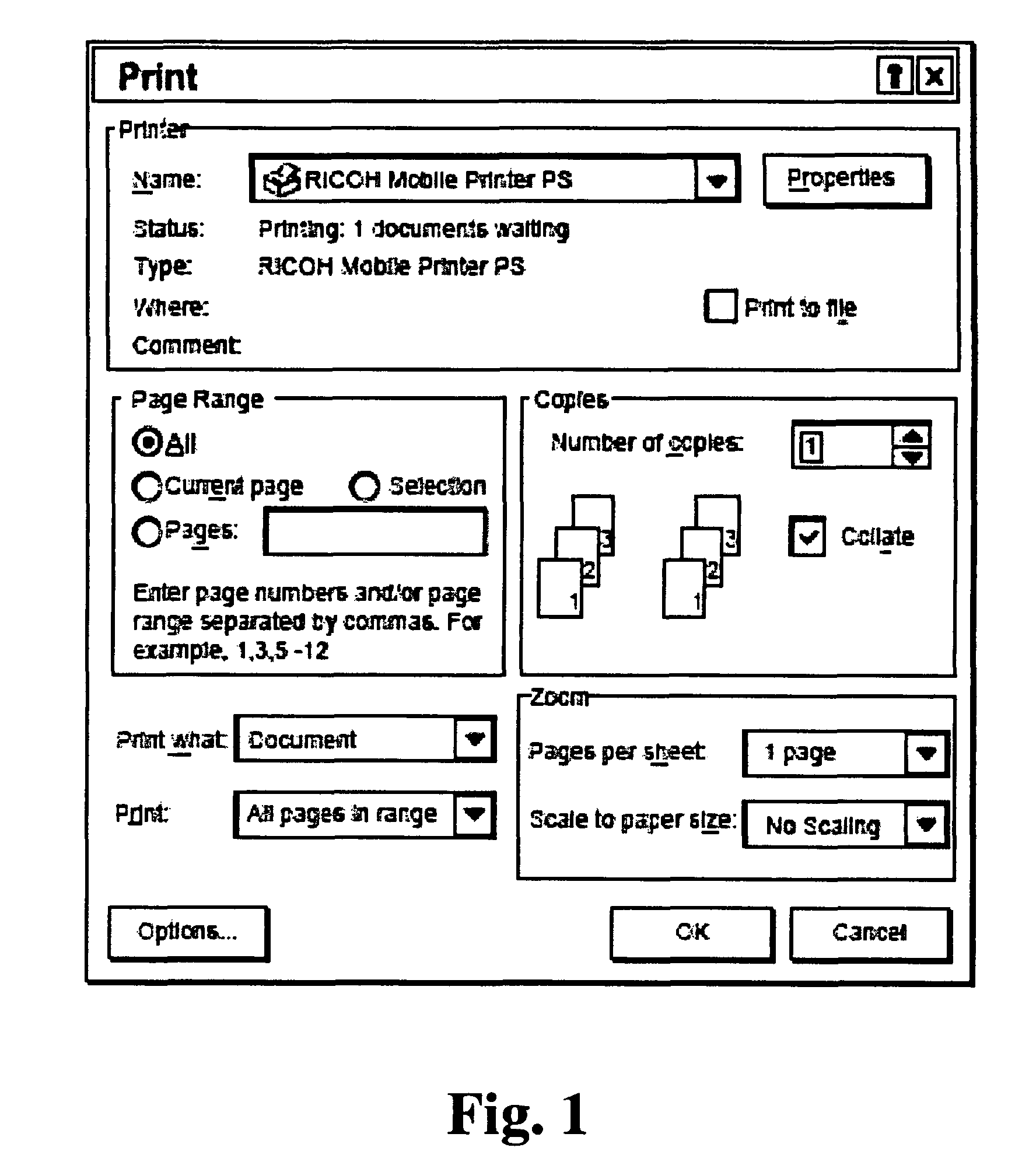 Patent US System And Method For Printer Driver - Paper size us white map