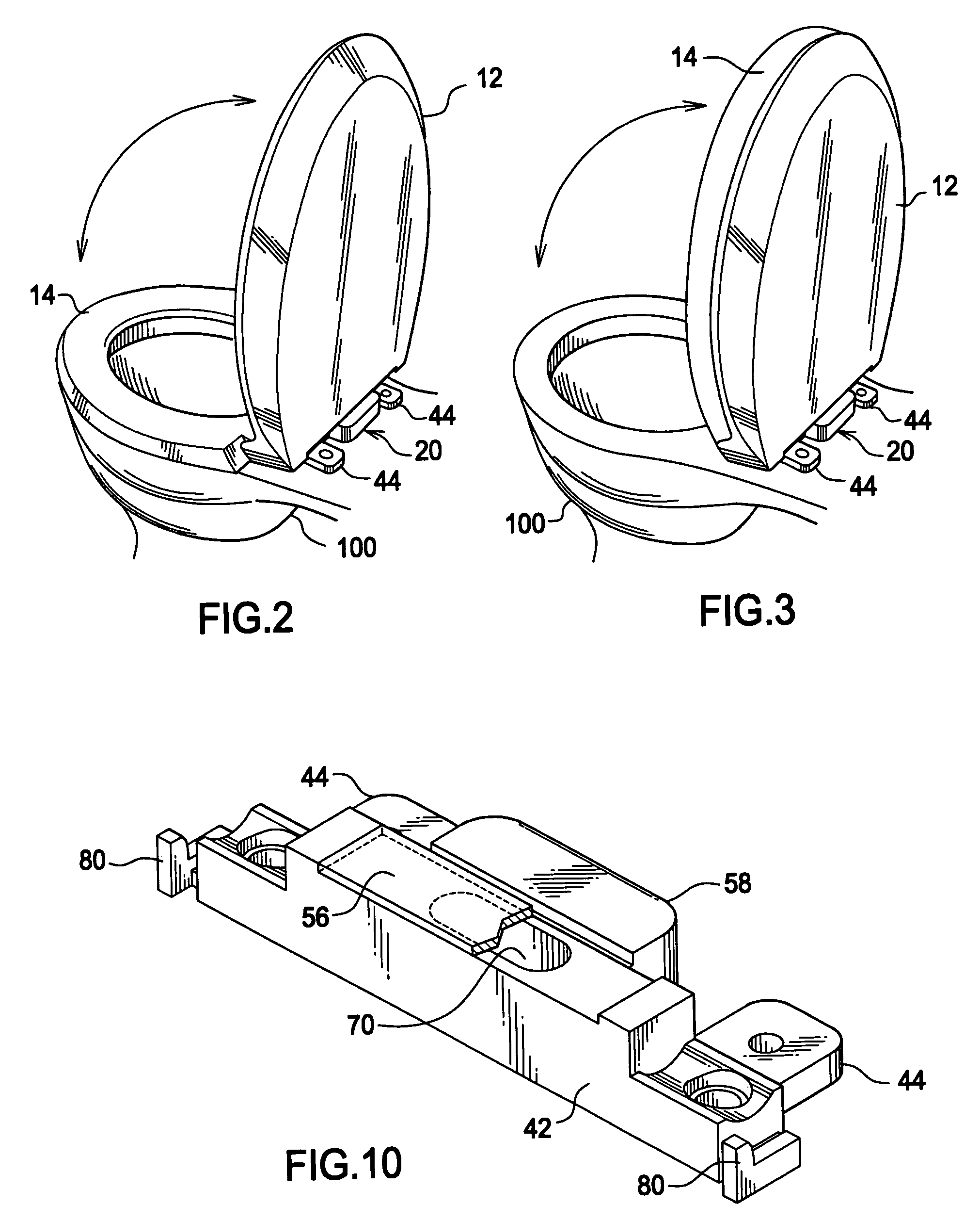 Patent US8214932 Automatic self closing toilet seat assembly