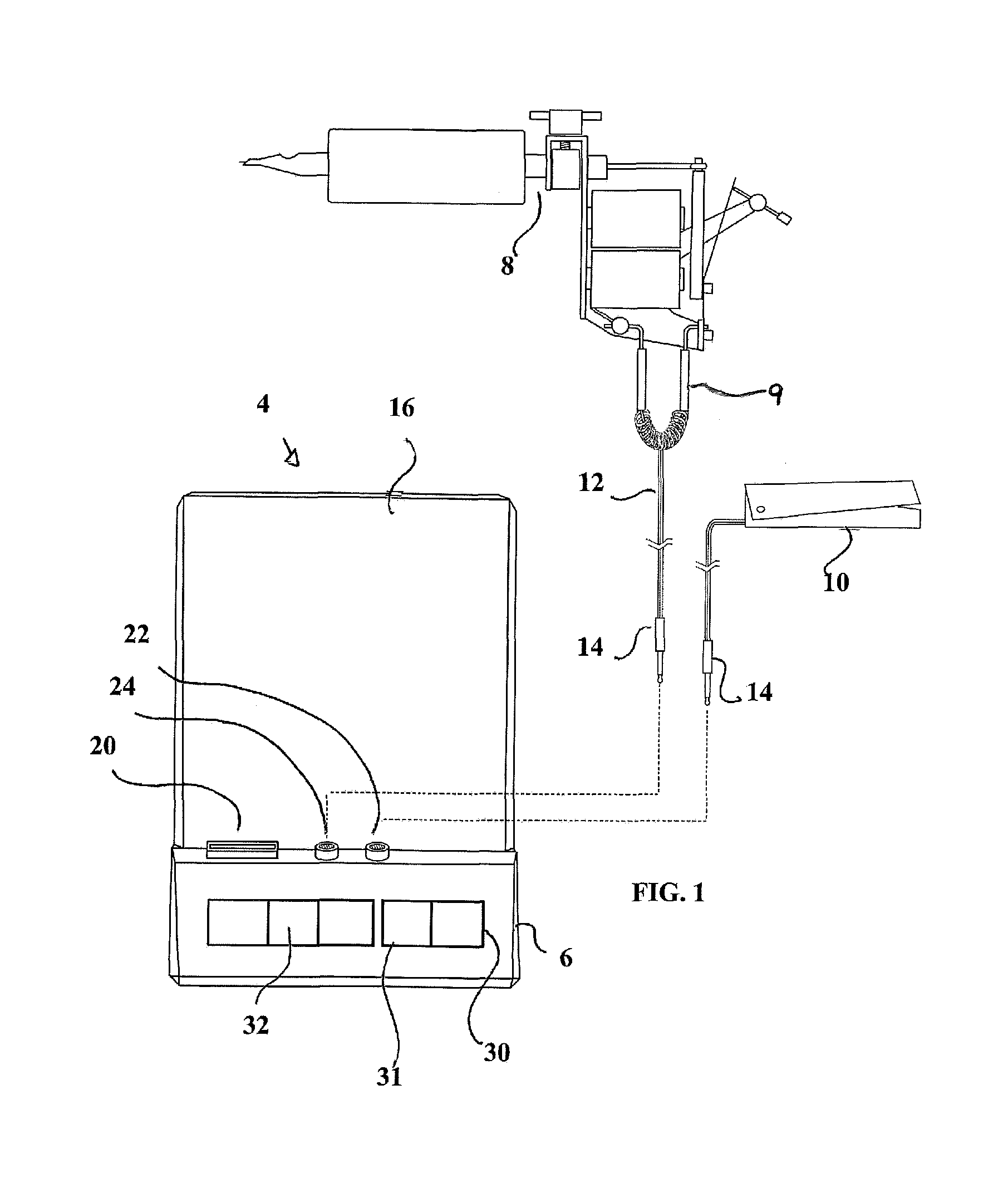 patent us8228666 - retrofit control system and power supply for a tattoo gun