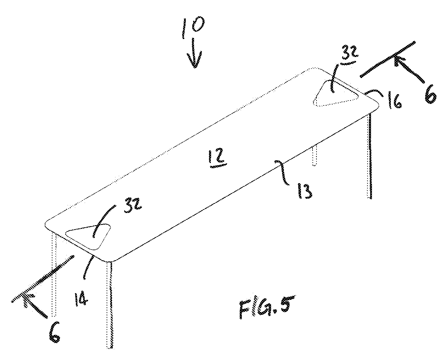 Beer pong table dimensions - Patent Drawing