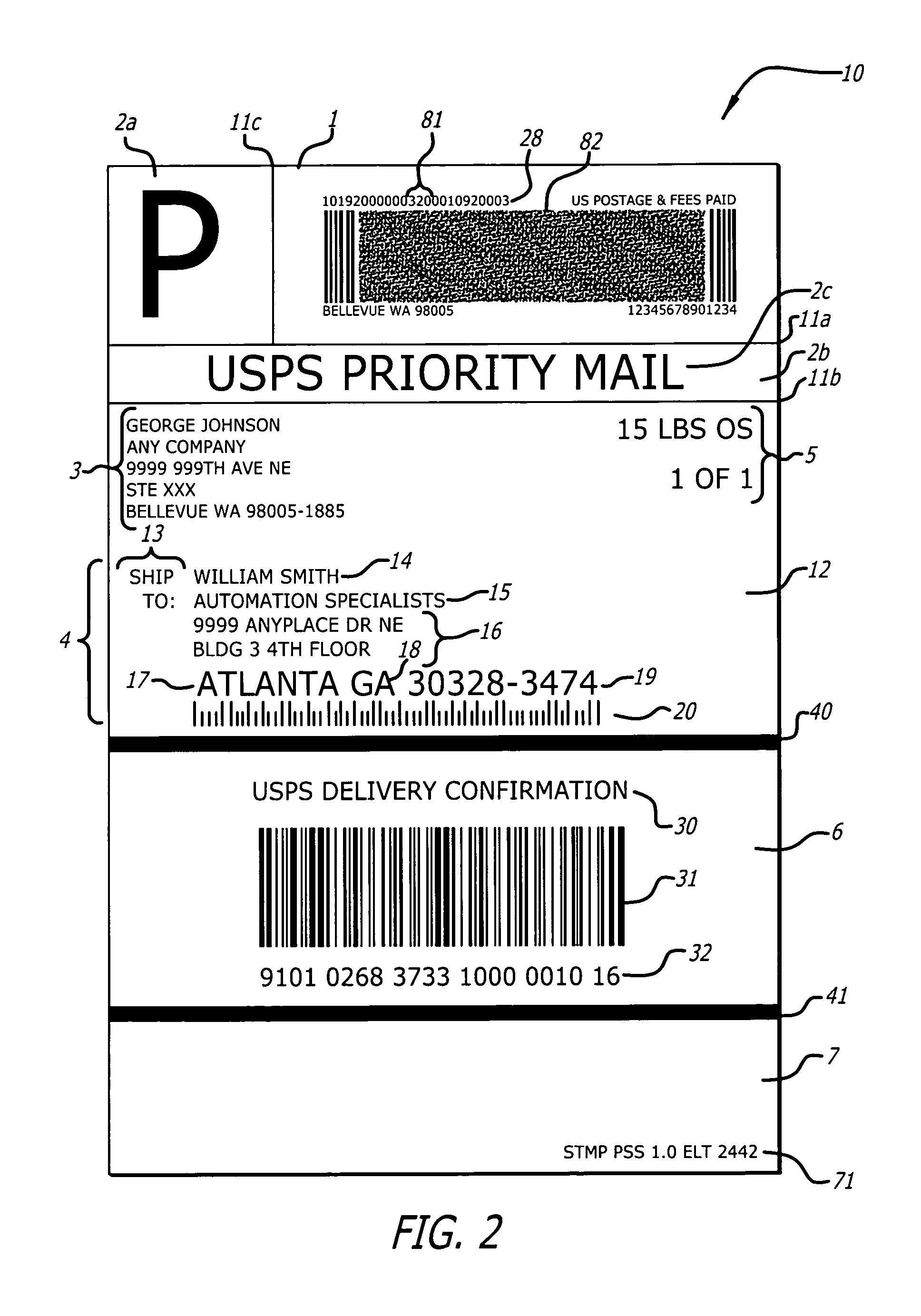 Patent US8240579 - Postal shipping label - Google Patents