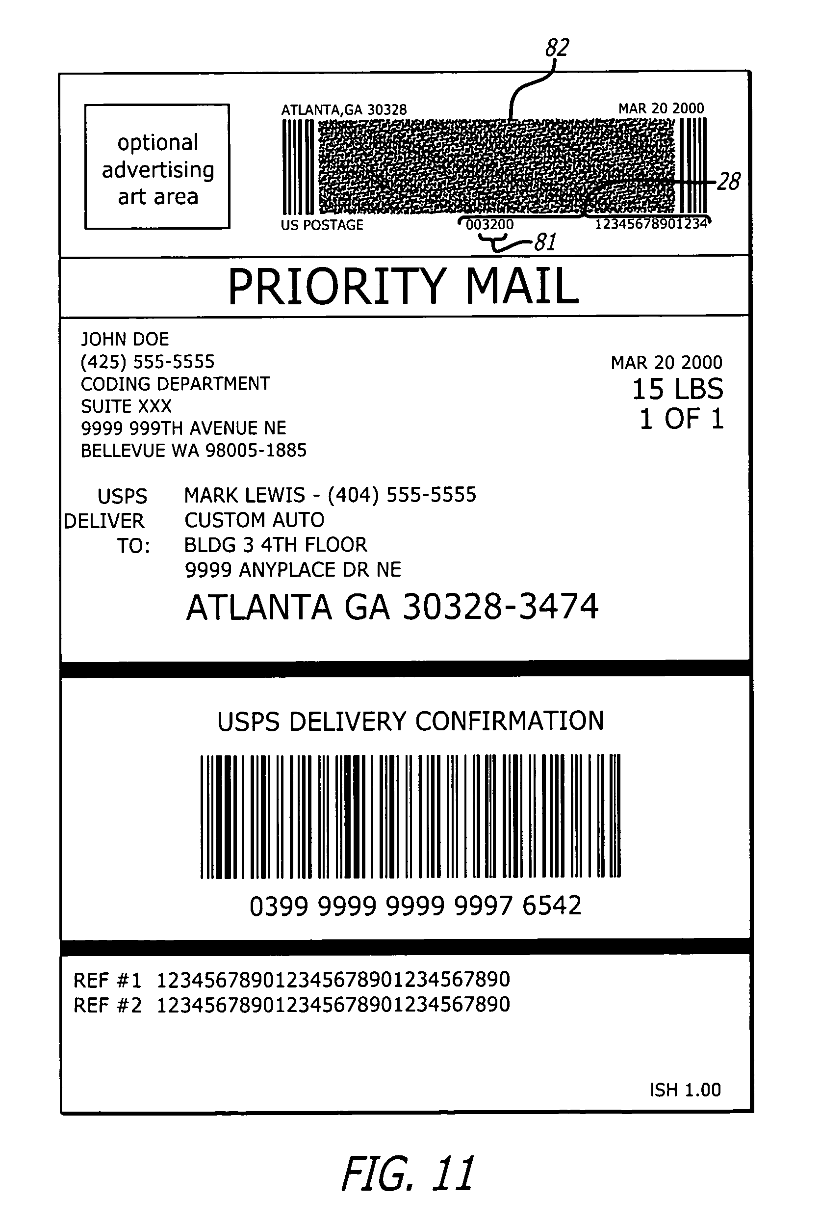 Patent US8240579 Postal shipping label Google Patents – Shipping Label Format