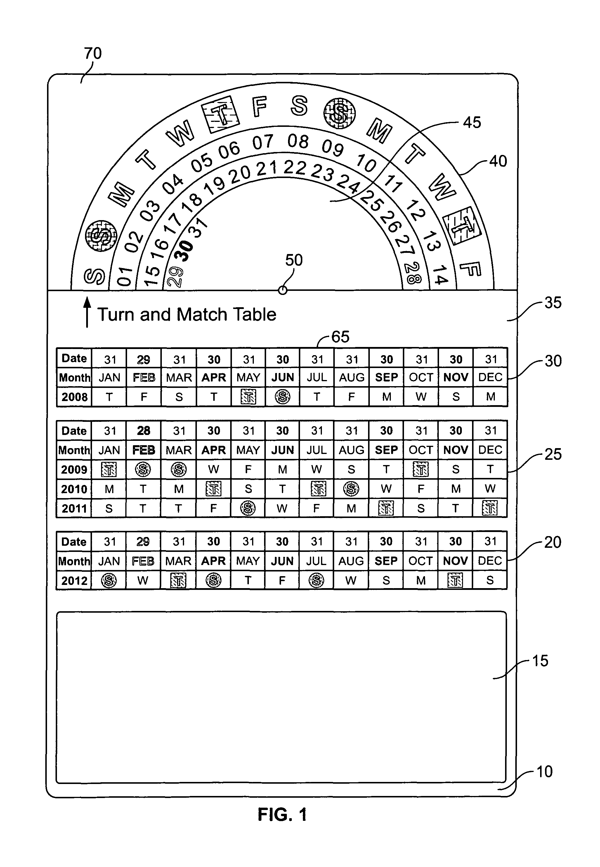 Patent US8266831 - Promotional multi-year rotational calendar ...