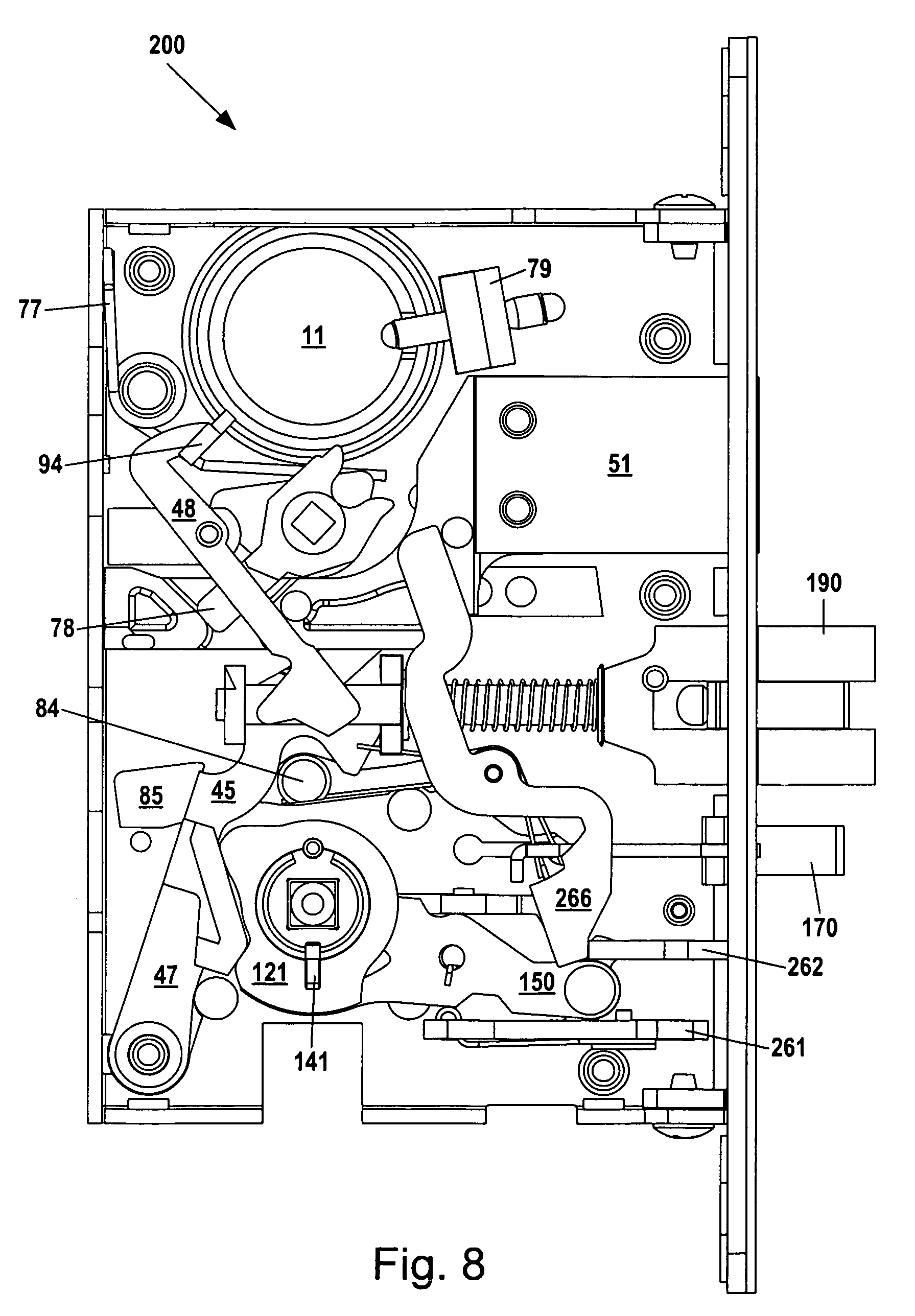 brevetto us8292336 - mortise lock assembly