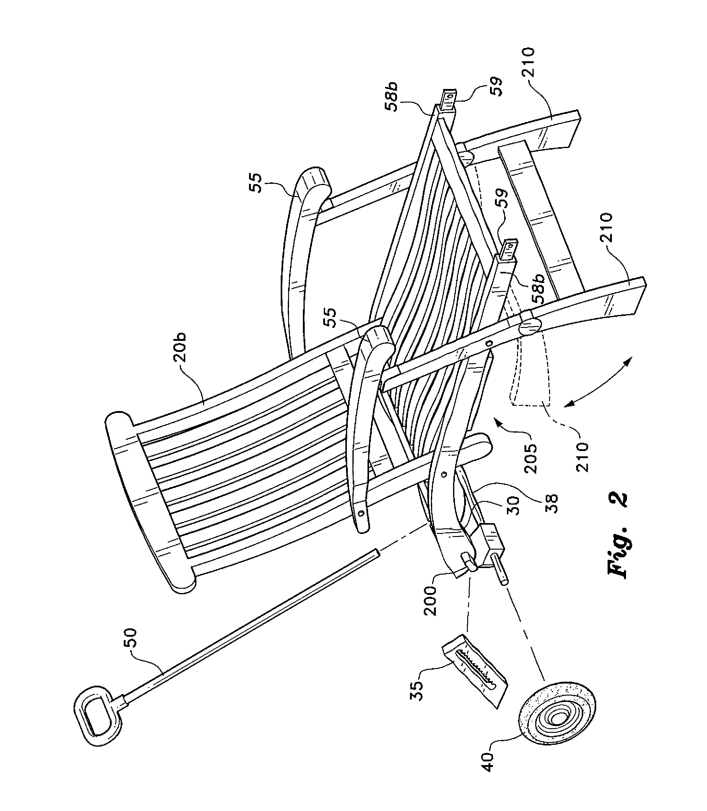 Beach lounge chair drawing - Patent Drawing