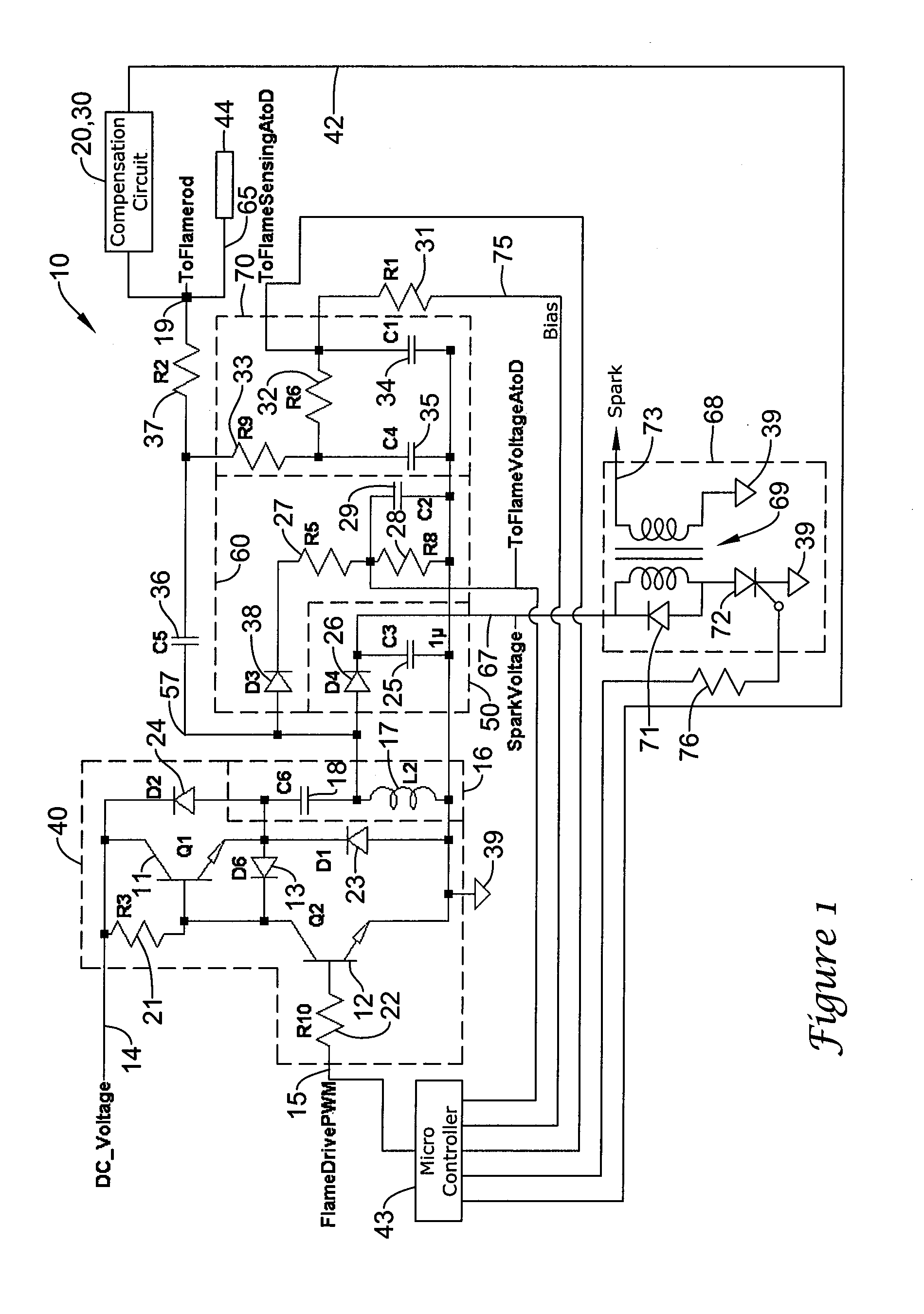 patent us8300381 - low cost high speed spark voltage and flame drive signal generator