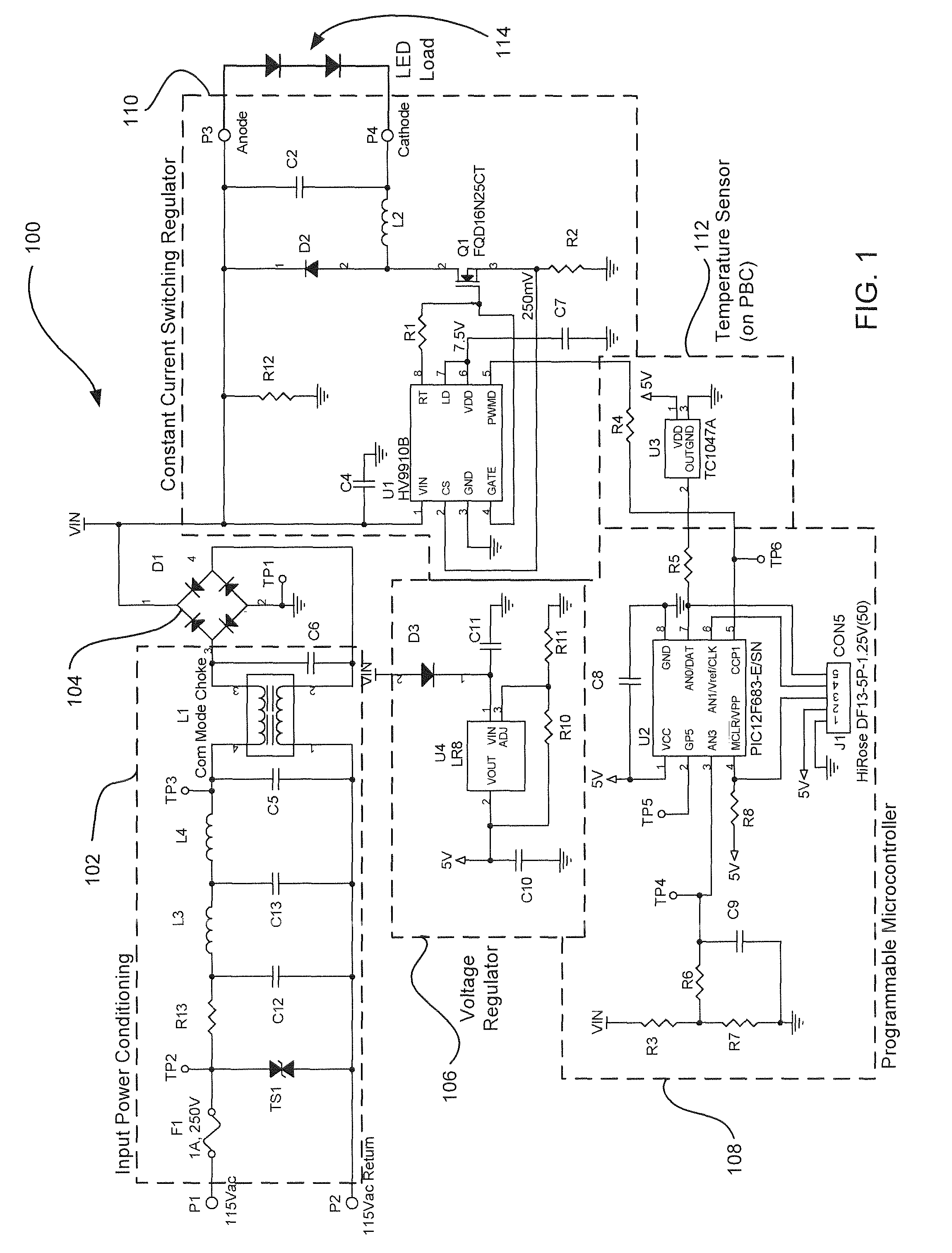 US08310171 20121113 D00001 patent us8310171 line voltage dimmable constant current led,Wiring Diagram For A Led Driver