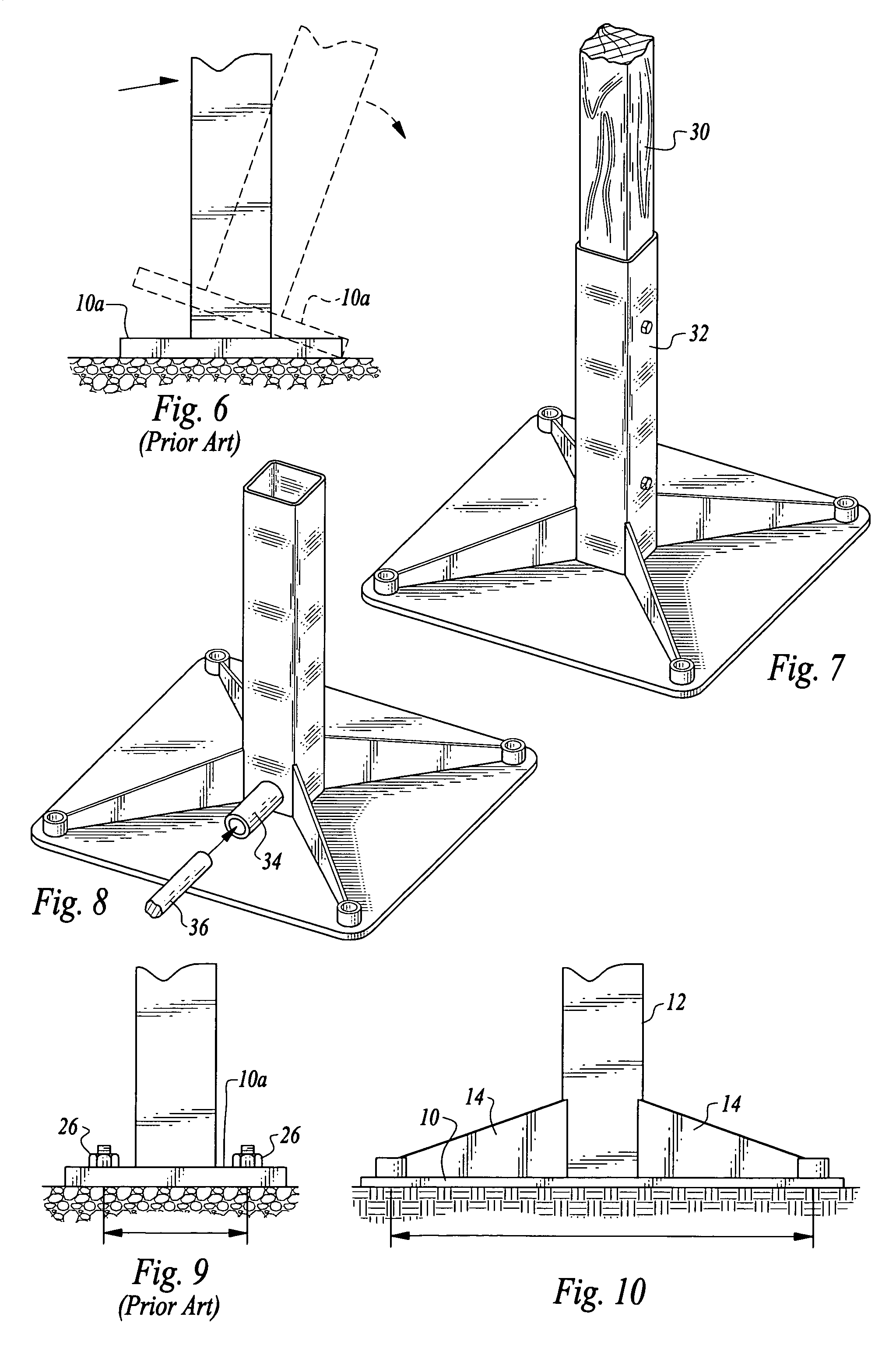 patent us8317226 foundationless pole installation system patent drawing
