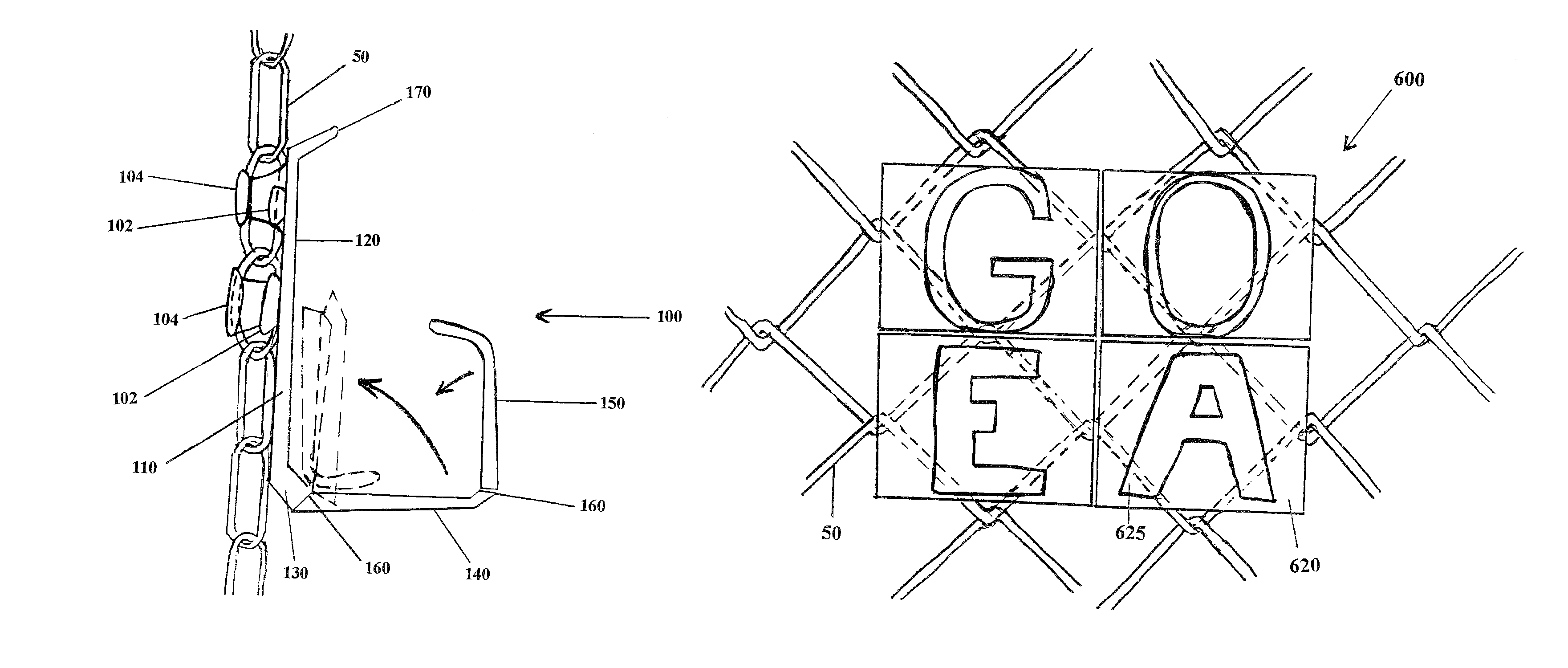 Chain Link Fence Drawing patent us8322667 - holder for attachment to chain link fence