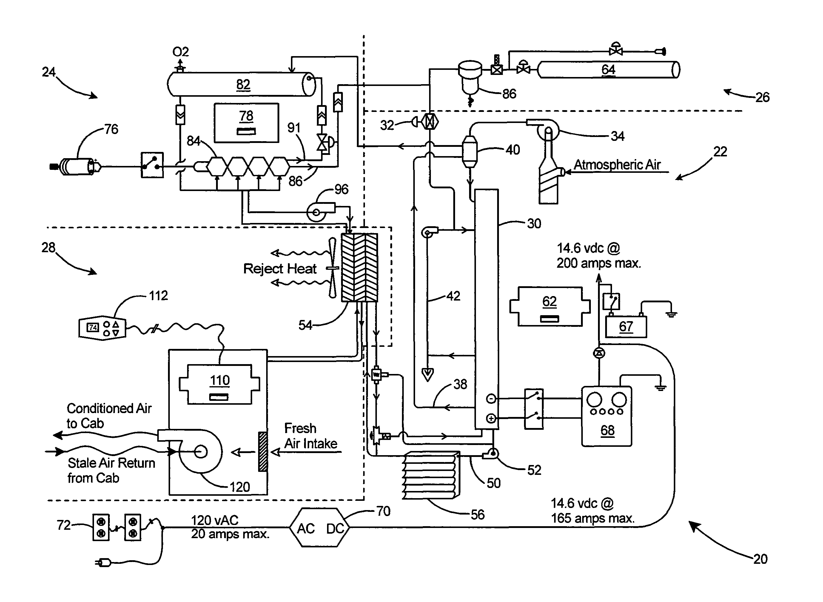 patent us8347645 hydrogen fuel cell driven hvac and power system on simple air conditioning schematic
