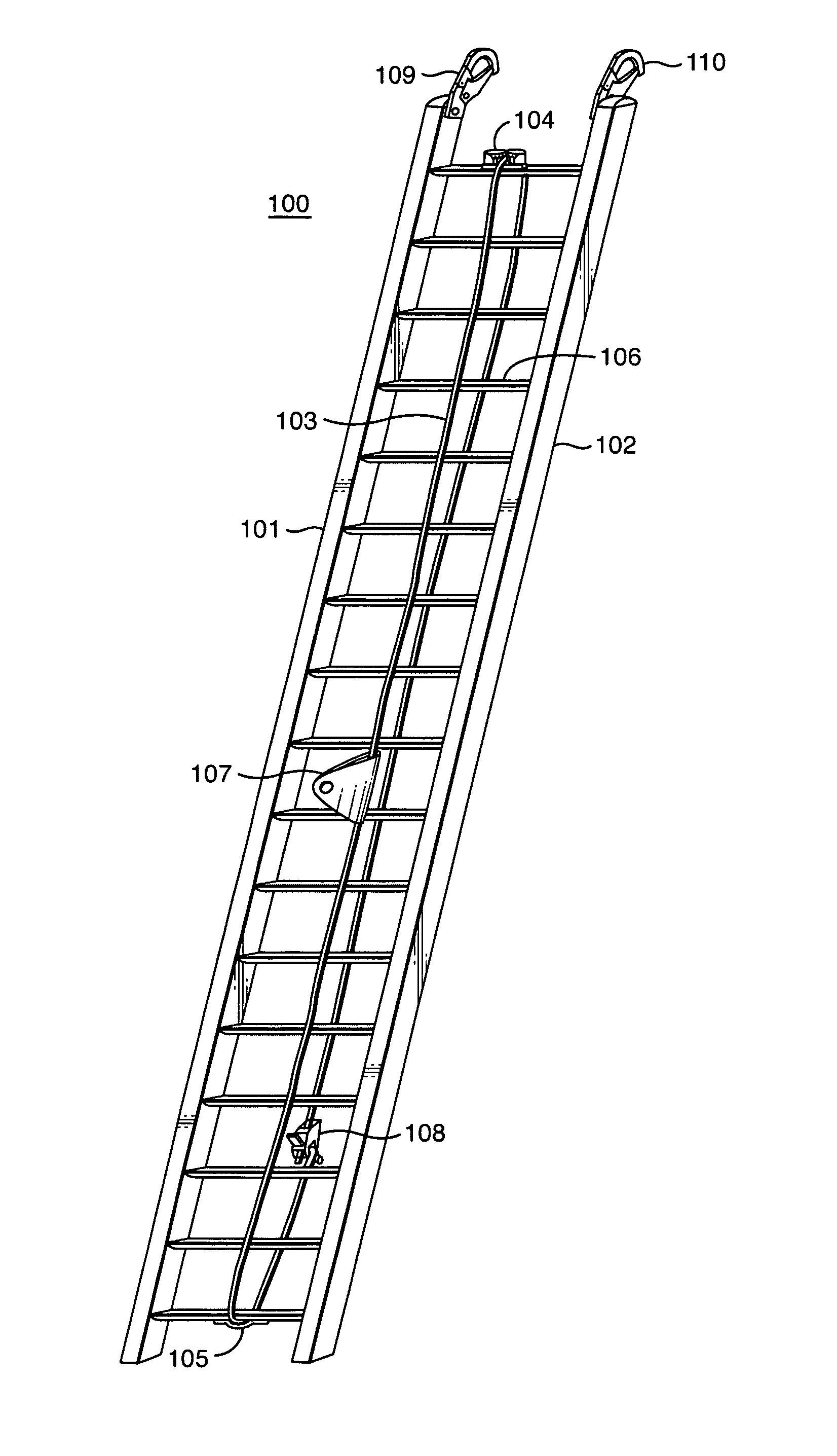 patent us8348014 - fall-arrest ladder system
