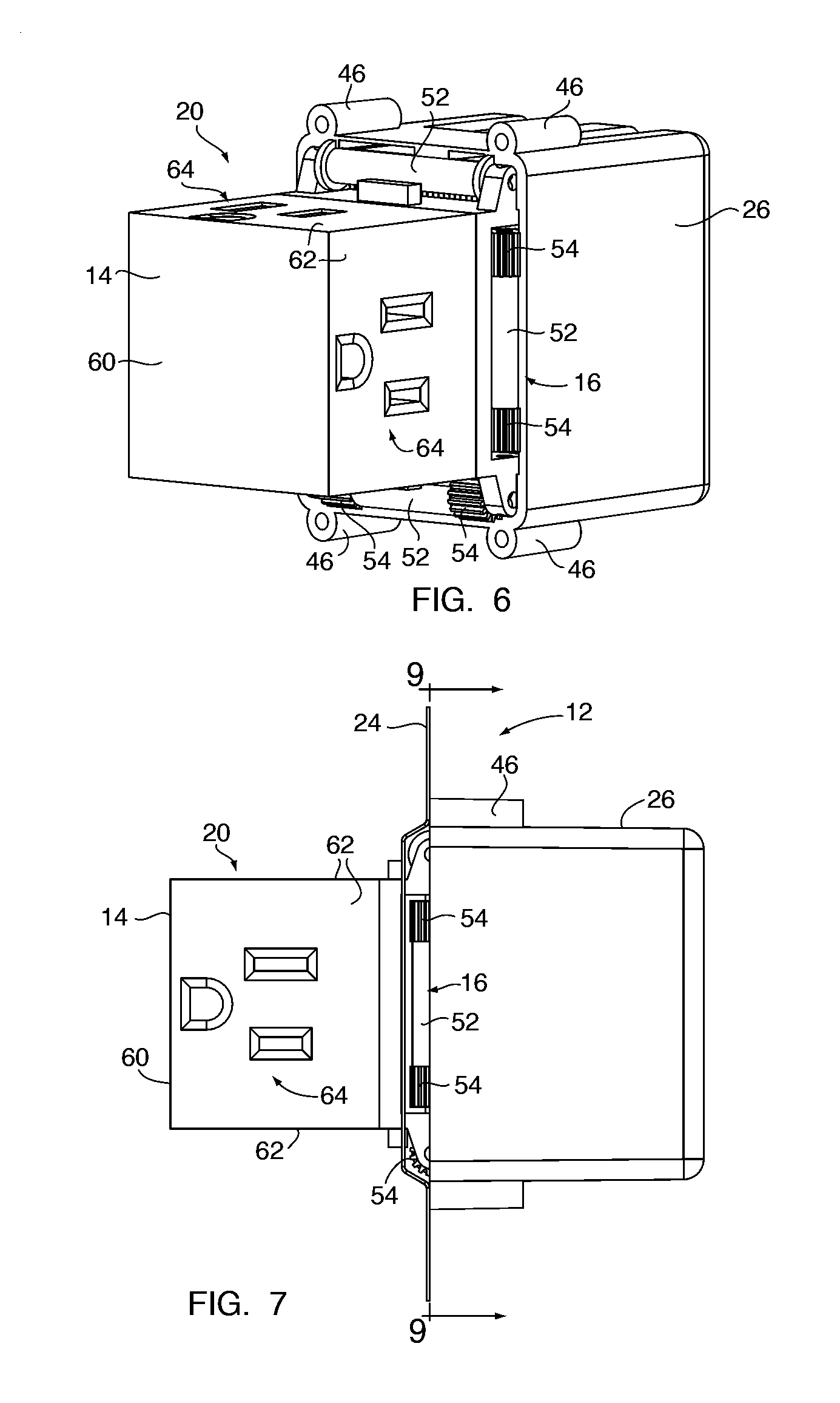 Patent Us8348683 Electrical Pop Out Device Google Patents Enclosure For Wiring Devices On Wire A Three Way Outlet Drawing