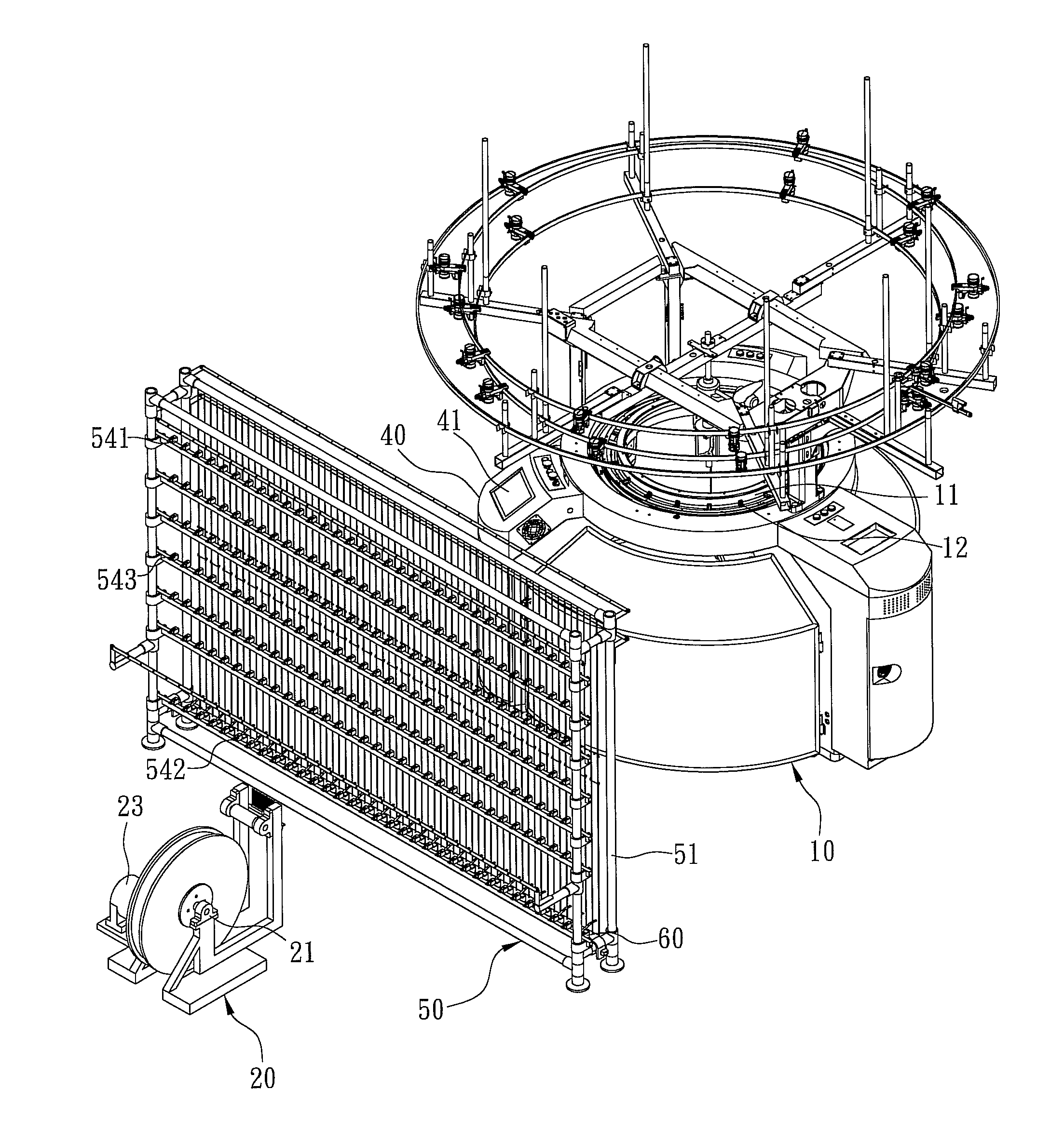 patent us8371145 yarn conveying system for circular knitting