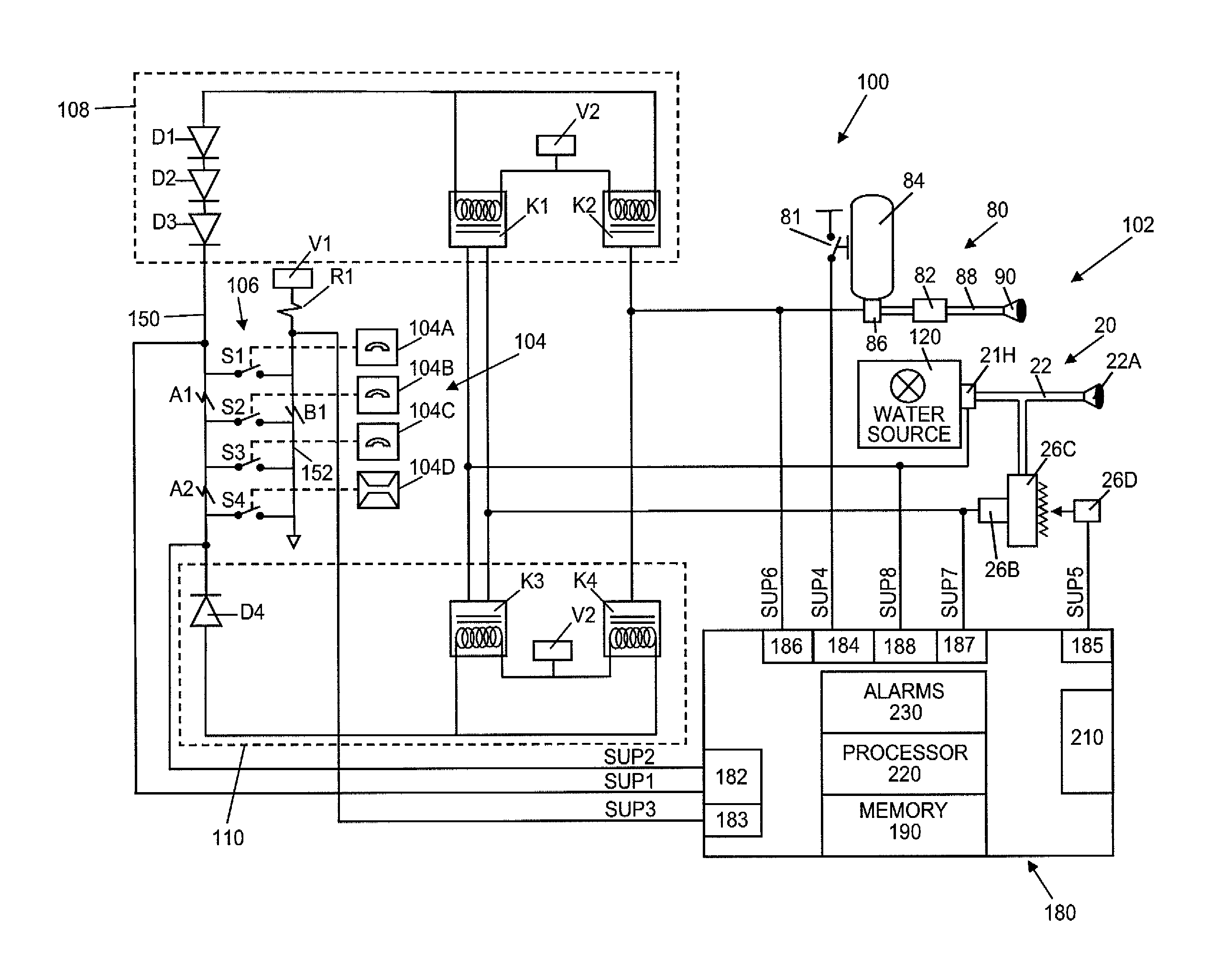 Fire Alarm System Wiring Diagram : Patent us kitchen hood assembly with fire