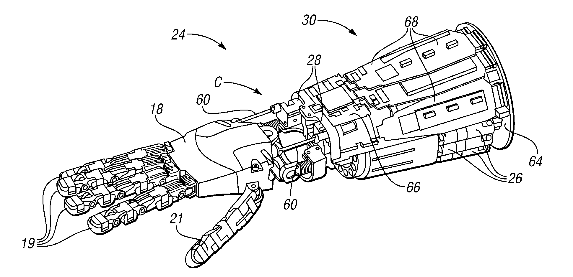 patent us8401700 - actuator and electronics packaging for extrinsic humanoid hand