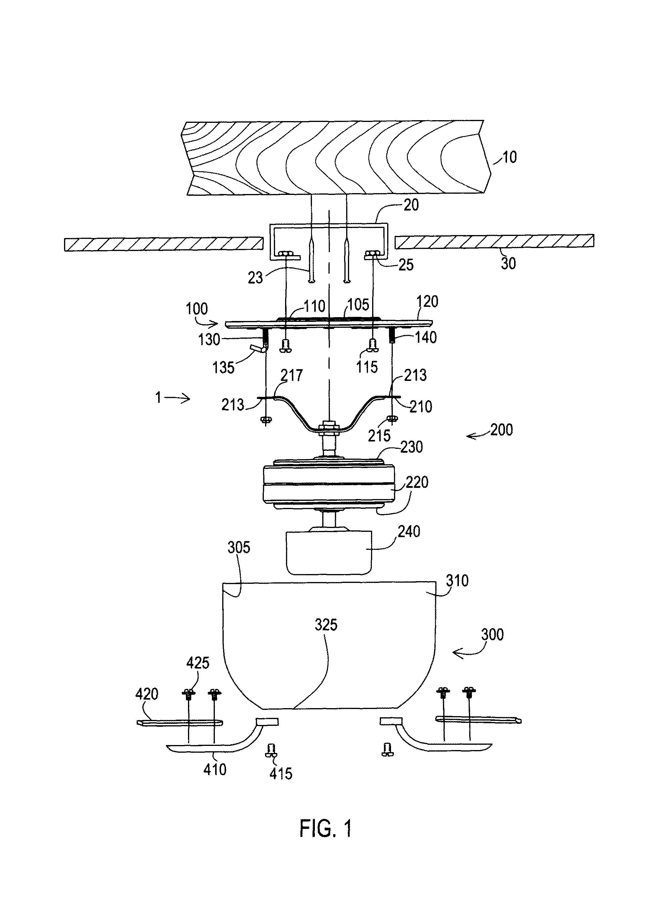 patent us8418981 - hugger fan twist-lock mechanism and method