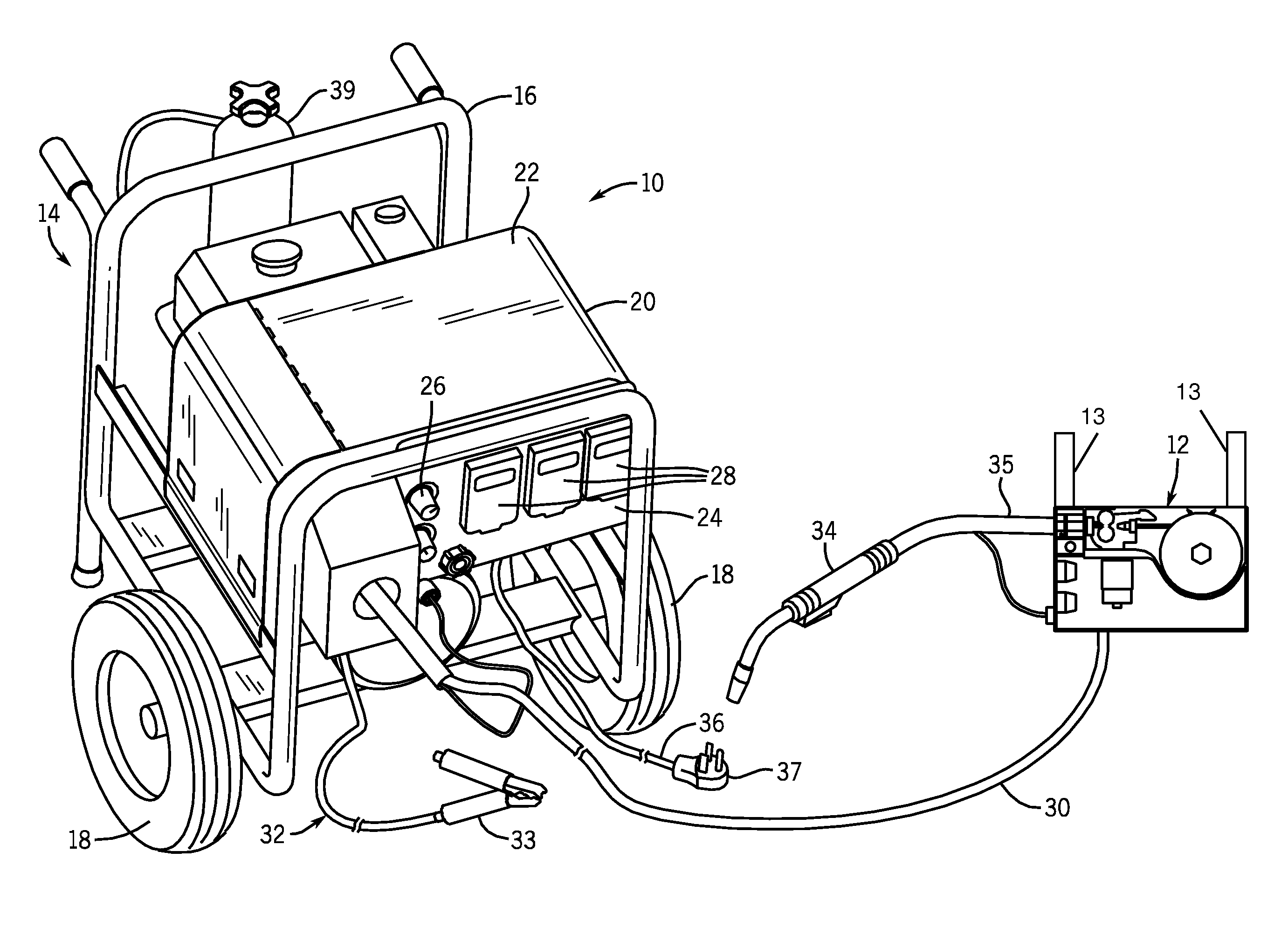 patent us8476555 - portable welding wire feed system and method