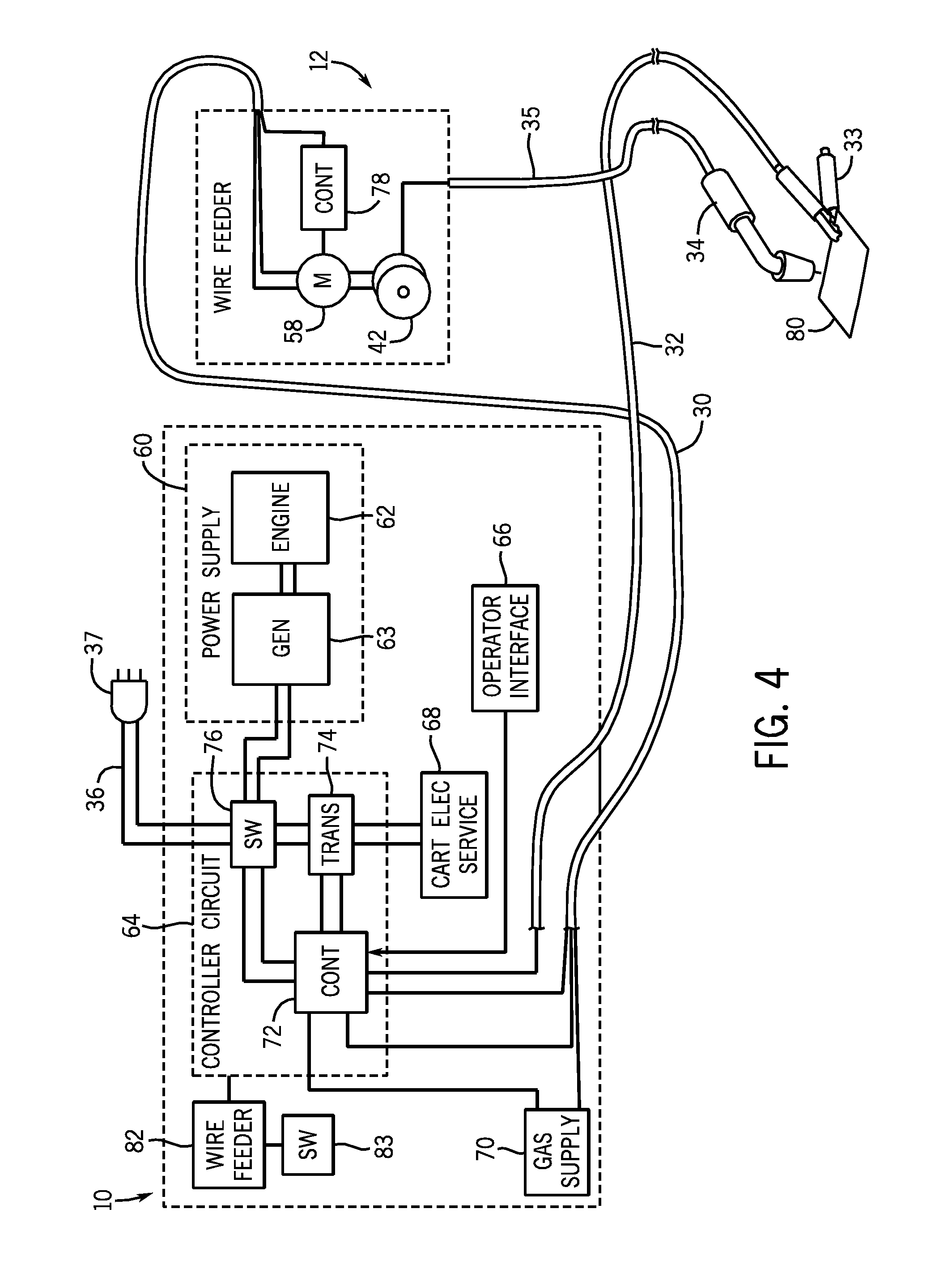 US08476555 20130702 D00004 patent us8476555 portable welding wire feed system and method Welder Circuit Diagram at gsmx.co