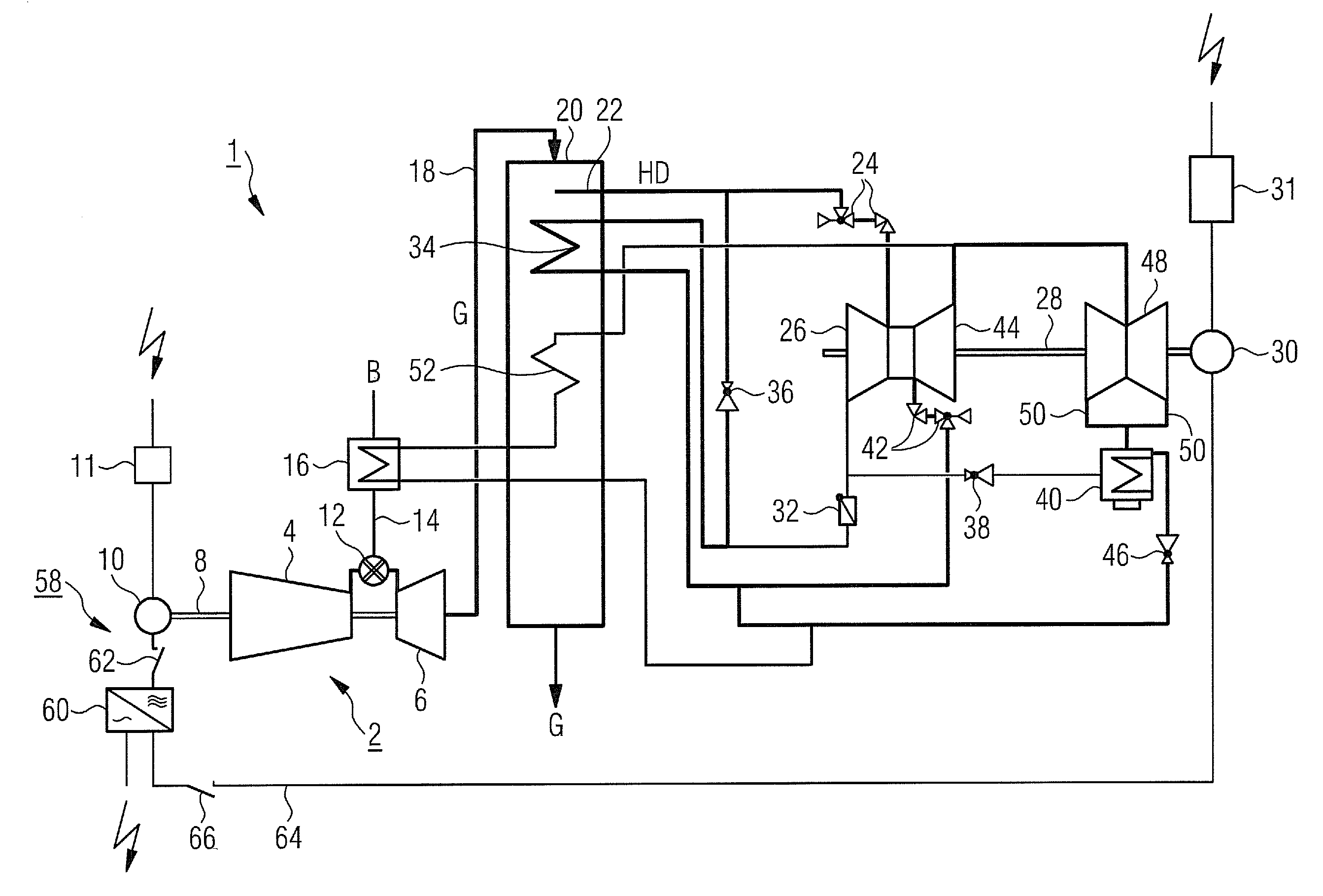 Patent US Operation of a gas and a steam turbine system