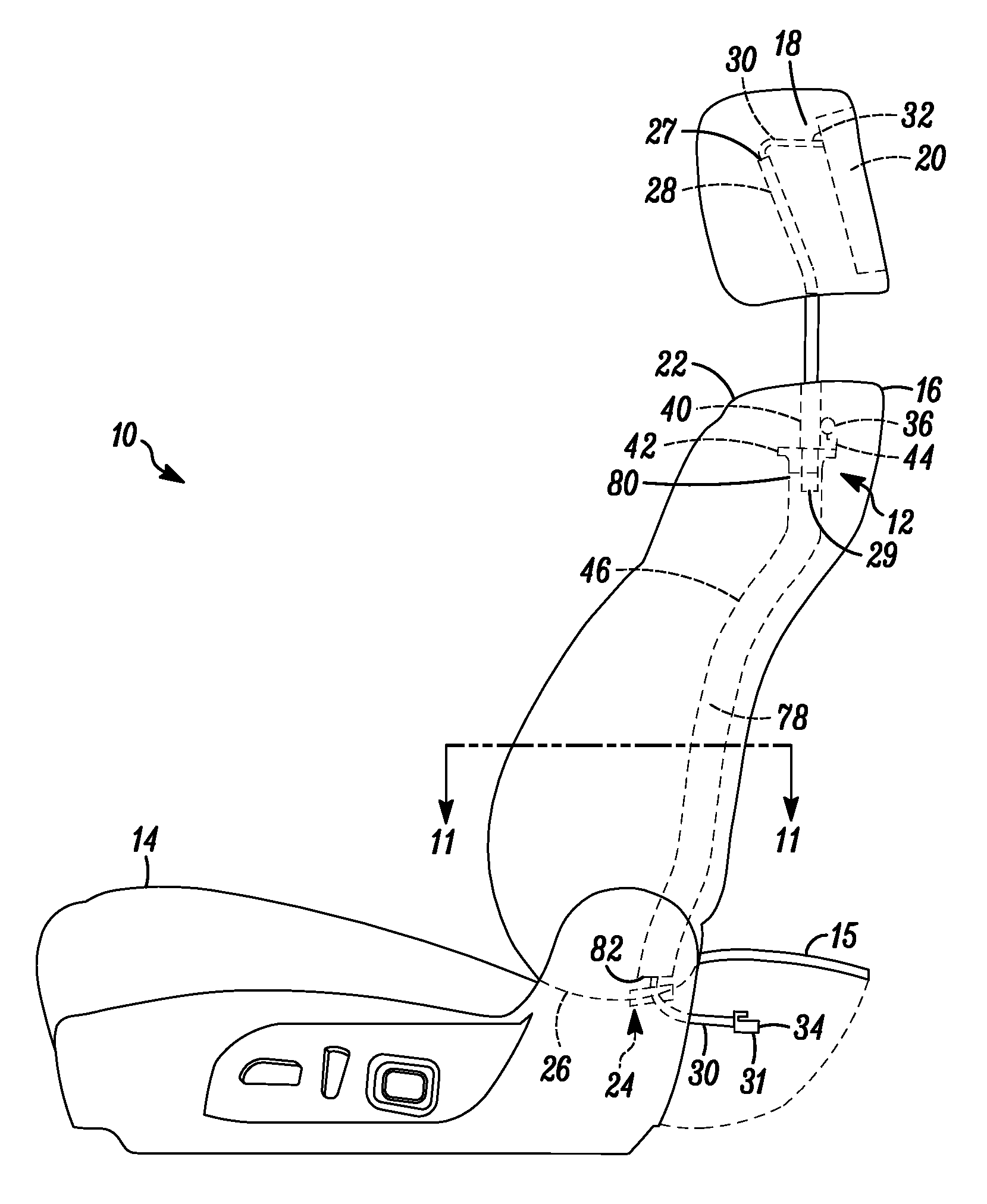 Patent Us8556342 Headrest Wire Harness Routing Guide Assembly Nissan Monitor Wiring Drawing
