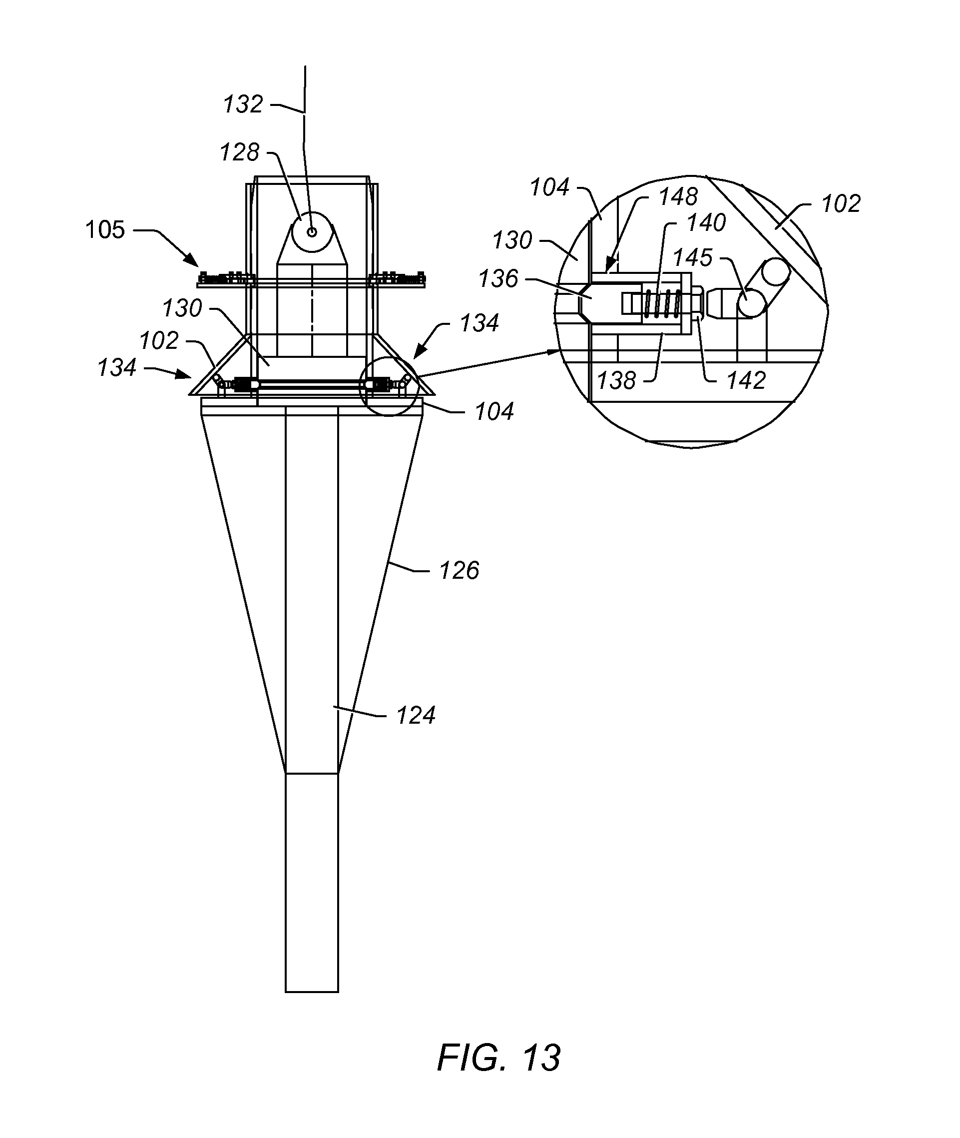 patent us8573305 pull head release mechanism for bend stiffener