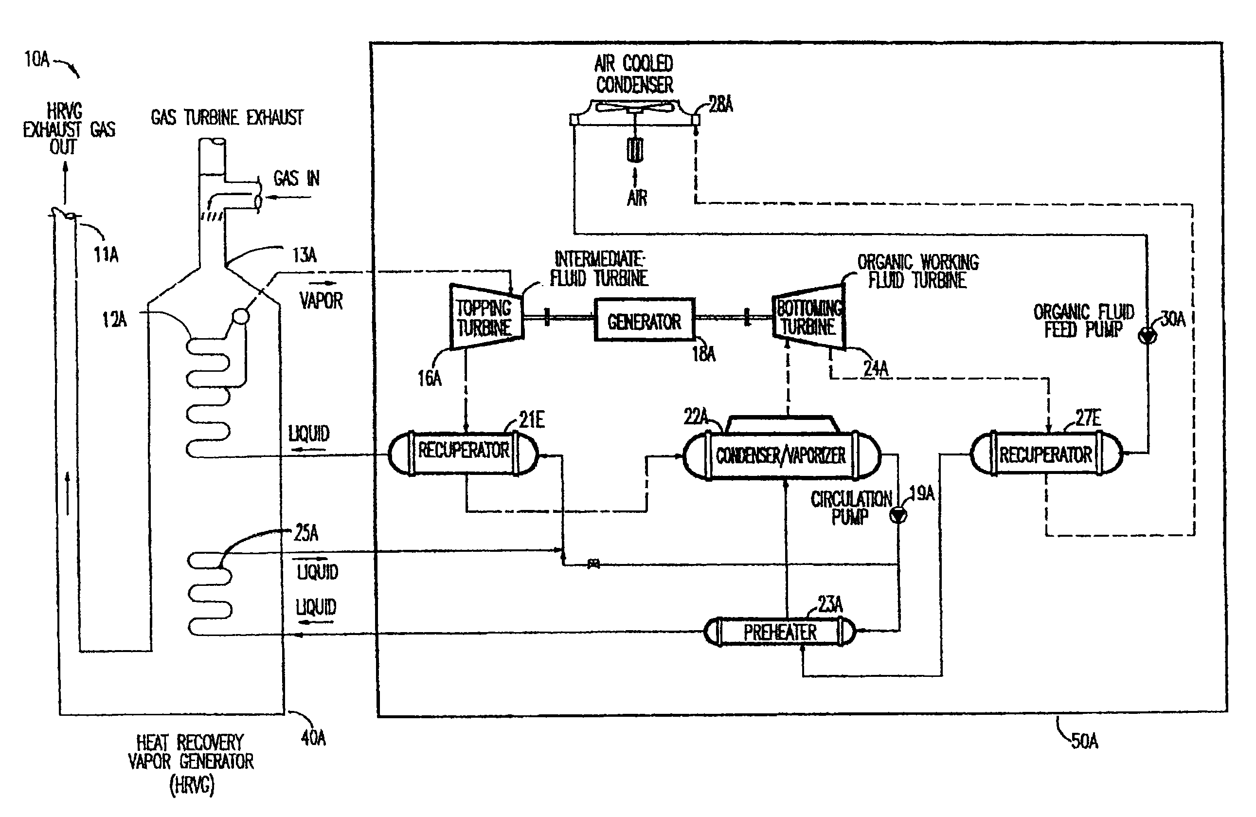 Patent US Power plant using organic working fluids