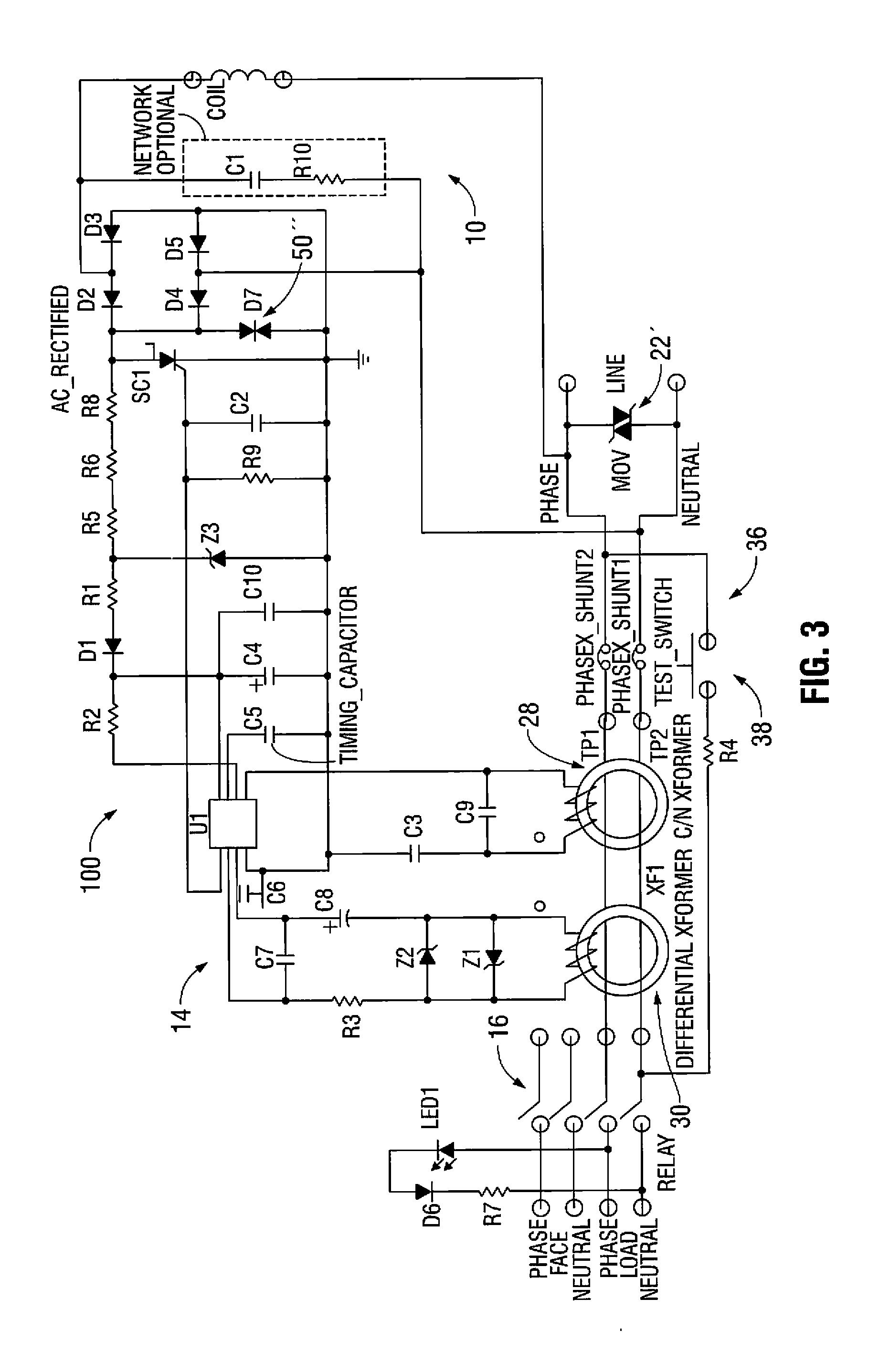 Patent Us8599522 Circuit Interrupter With Improved Surge Pass Seymour Arcfault Afci Drawing