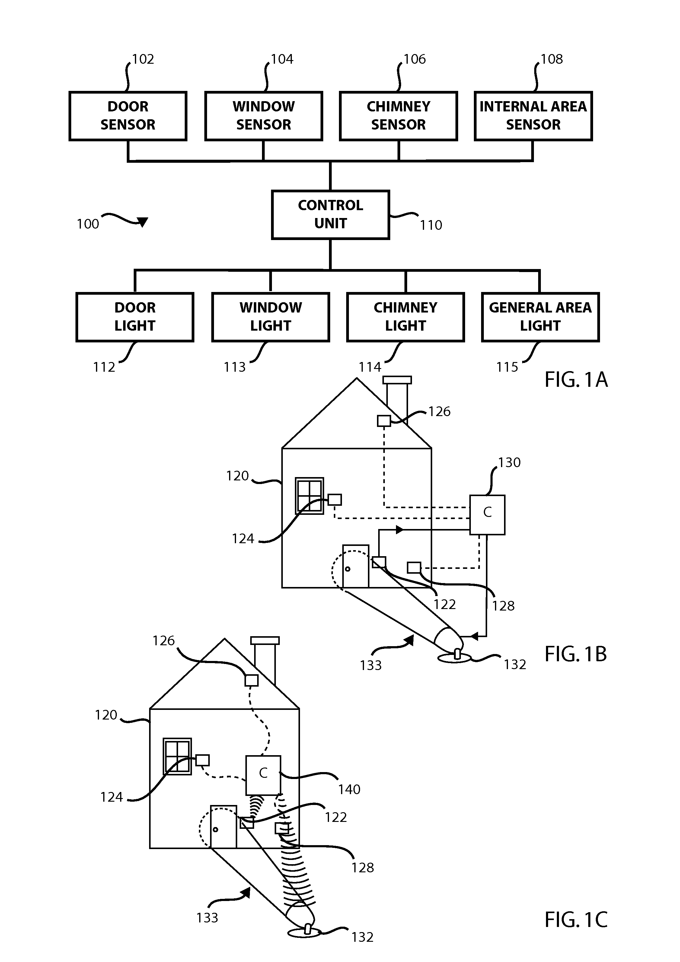 patent us8624735 alarm system having an indicator light that is patent drawing