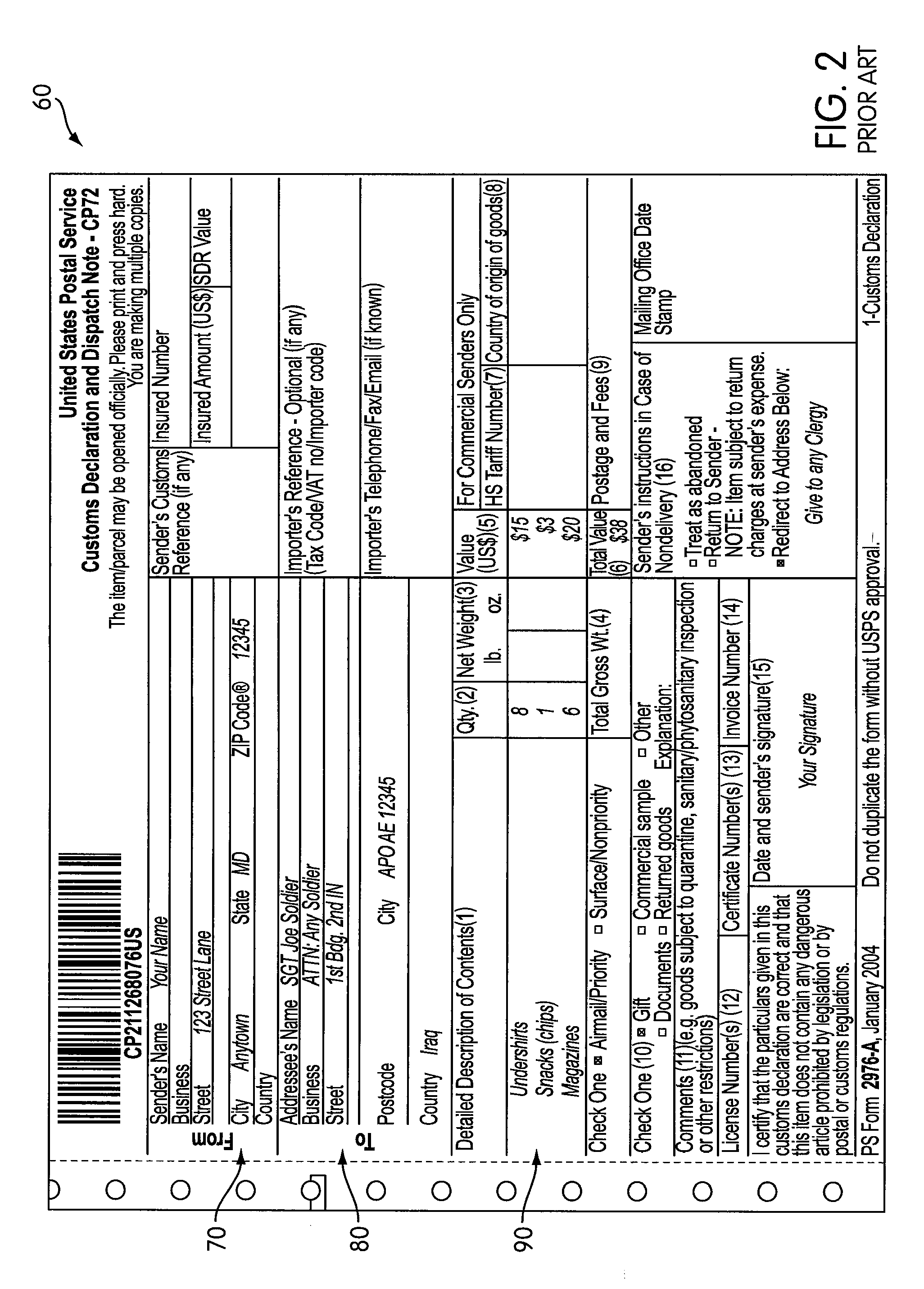 Patent US8626674 - Integrated shipping label and customs form ...