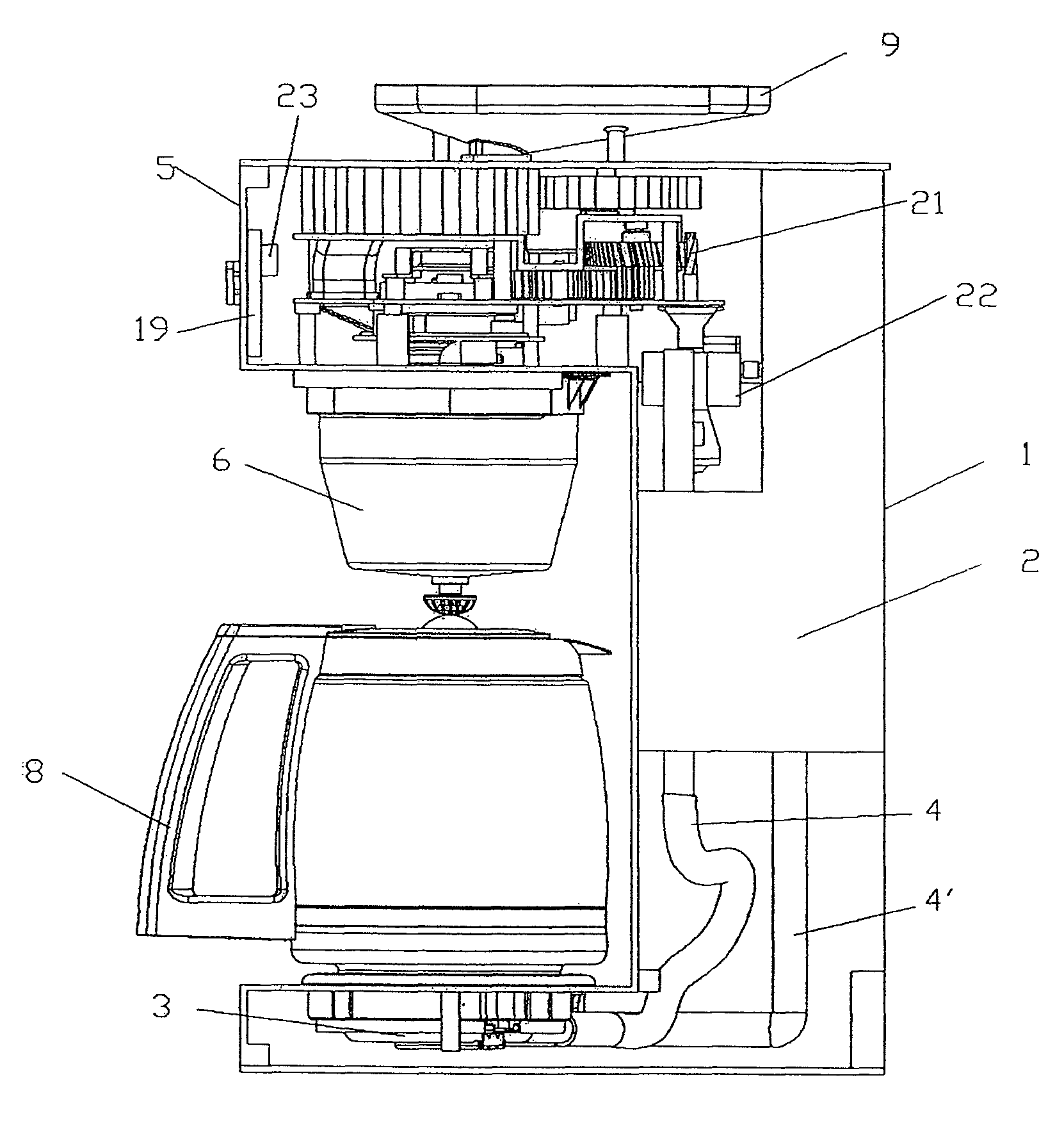 Coffee Maker Drawing ~ Patent us coffee maker with bean grinder