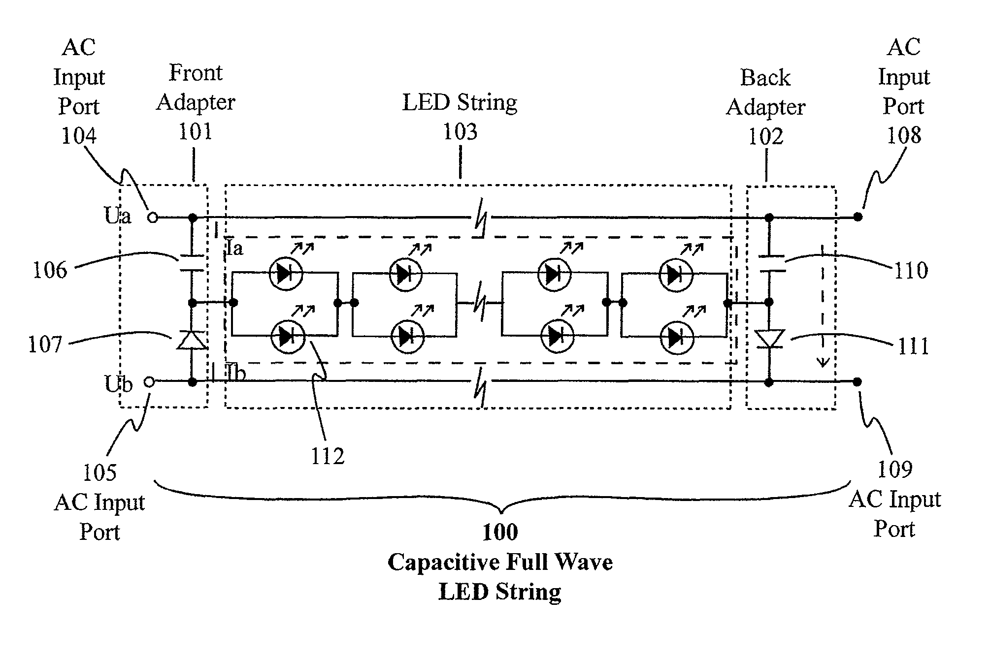 Patent Us8723432 Capacitive Full Wave Circuit For Led Light Ac Diagram Drawing