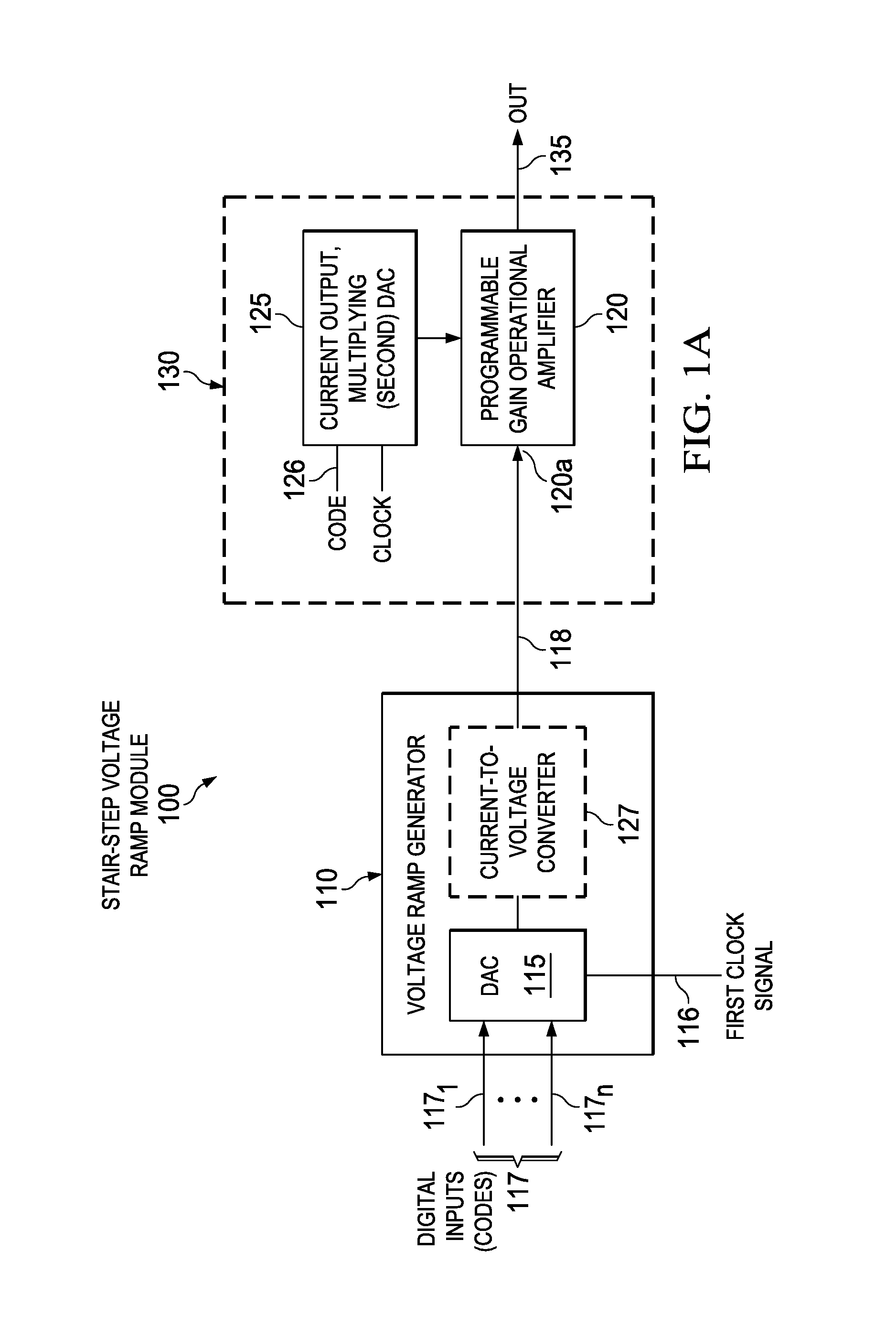 patent us8723711 - stair-step voltage ramp module including programmable gain amplifier