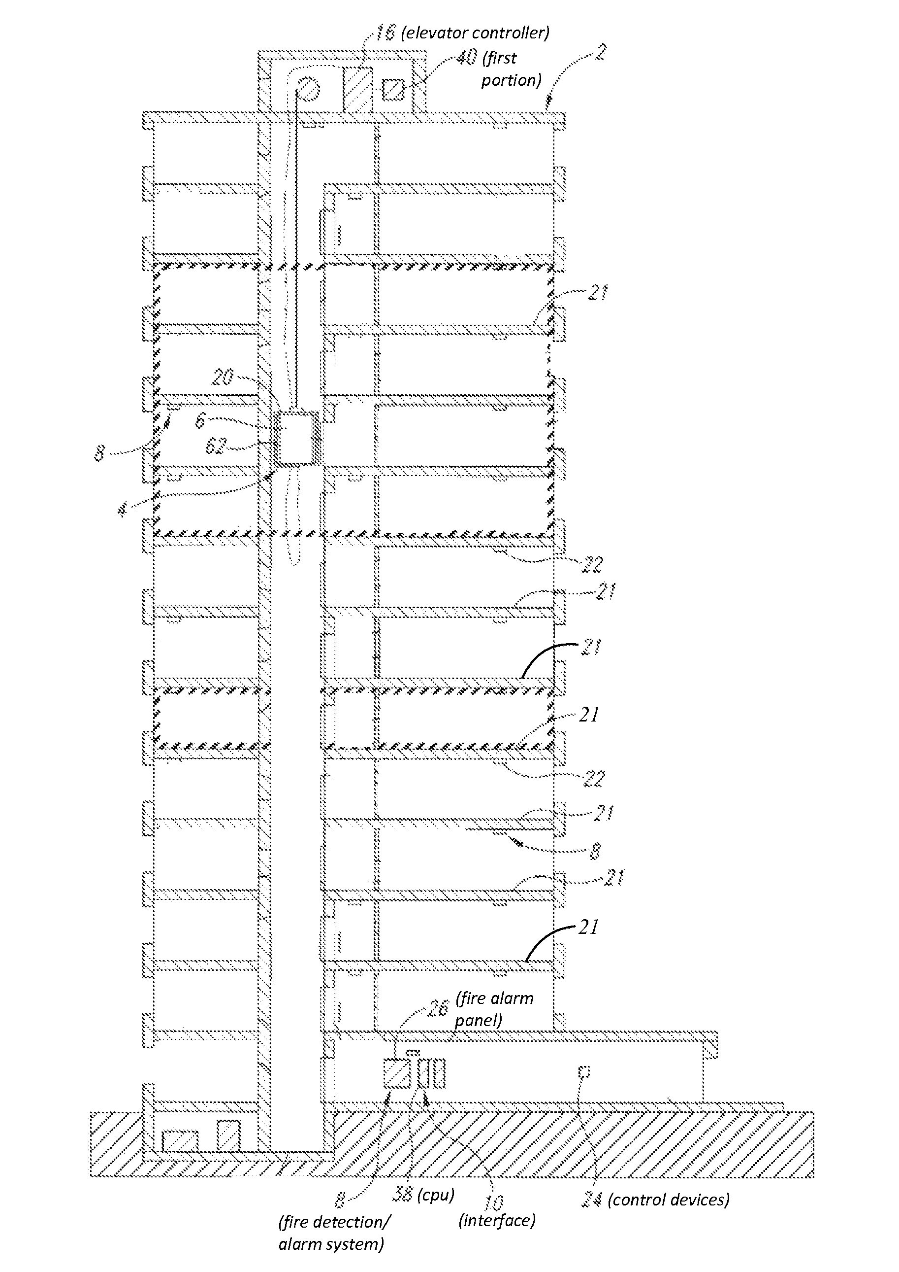 US08794389 20140805 D00000 patent us8794389 interface between fire panel and elevator elevator recall wiring diagram at gsmportal.co