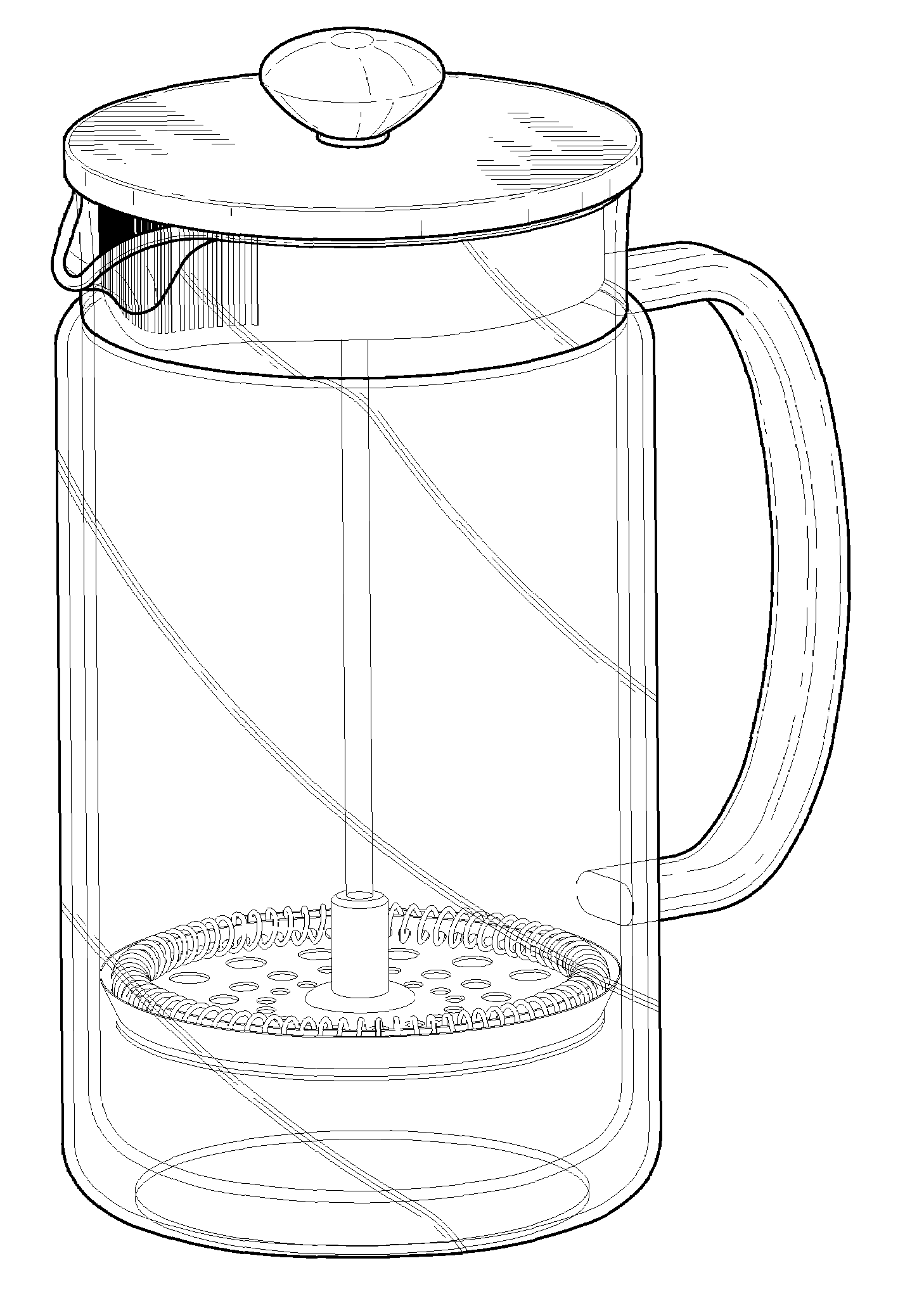 Coffee Maker Drawing ~ Patent usd double wall french press coffee maker