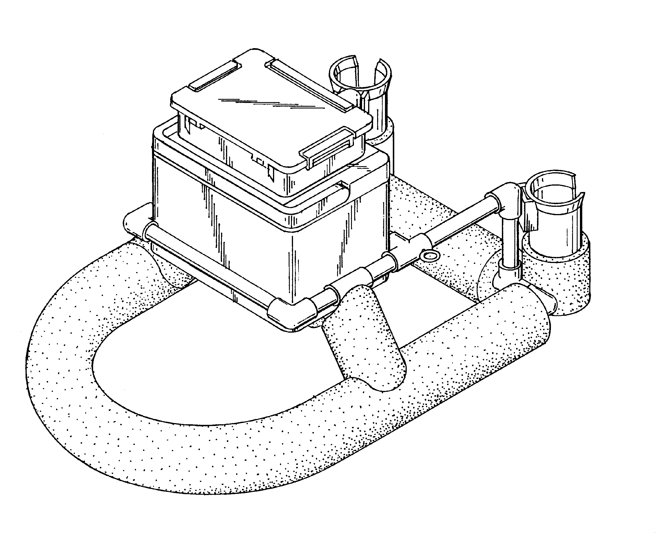 Patent usd639380 floating wade fishing gear holder for Wade fishing caddy